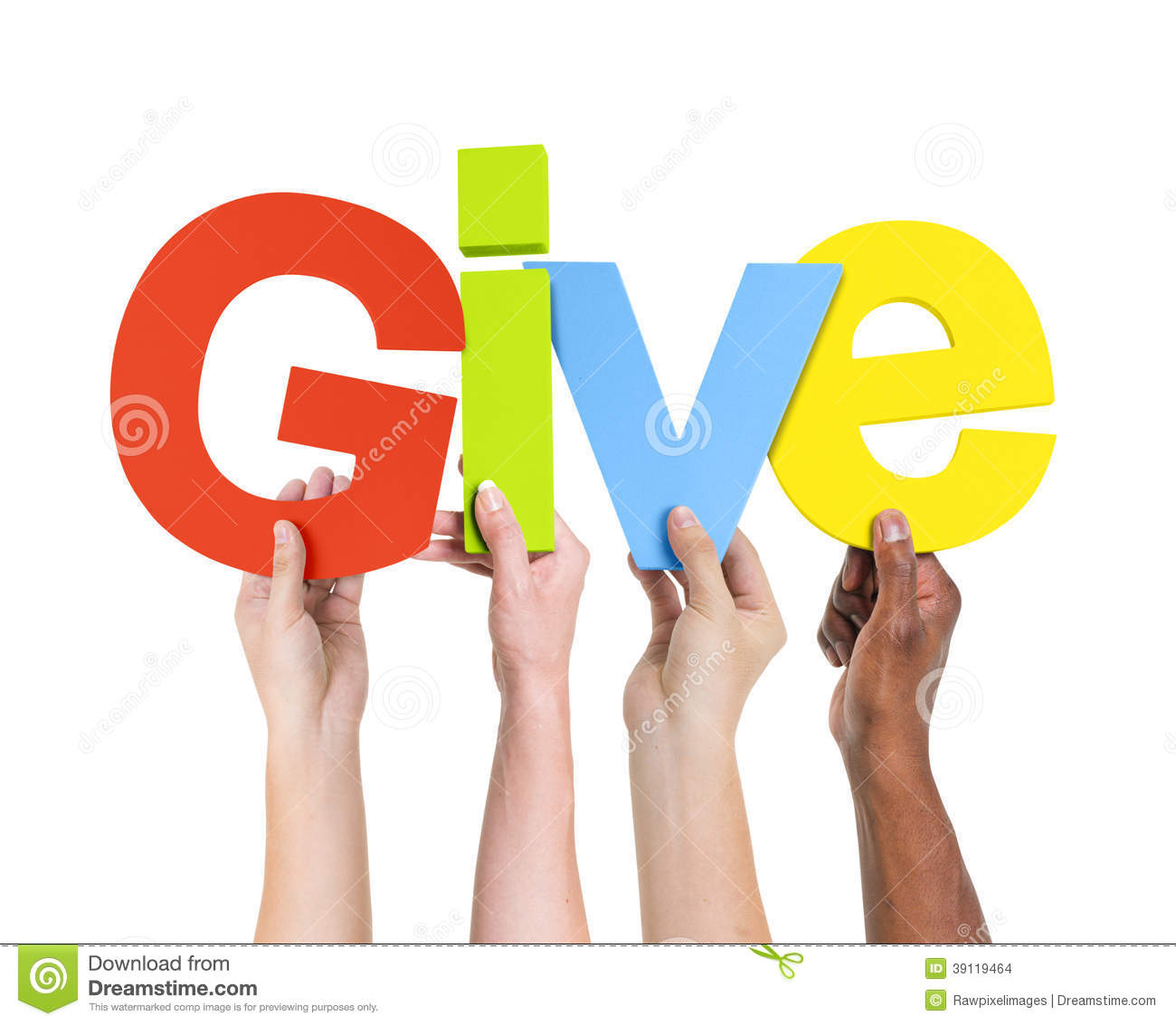 multi ethnic hands holding the word give stock photo
