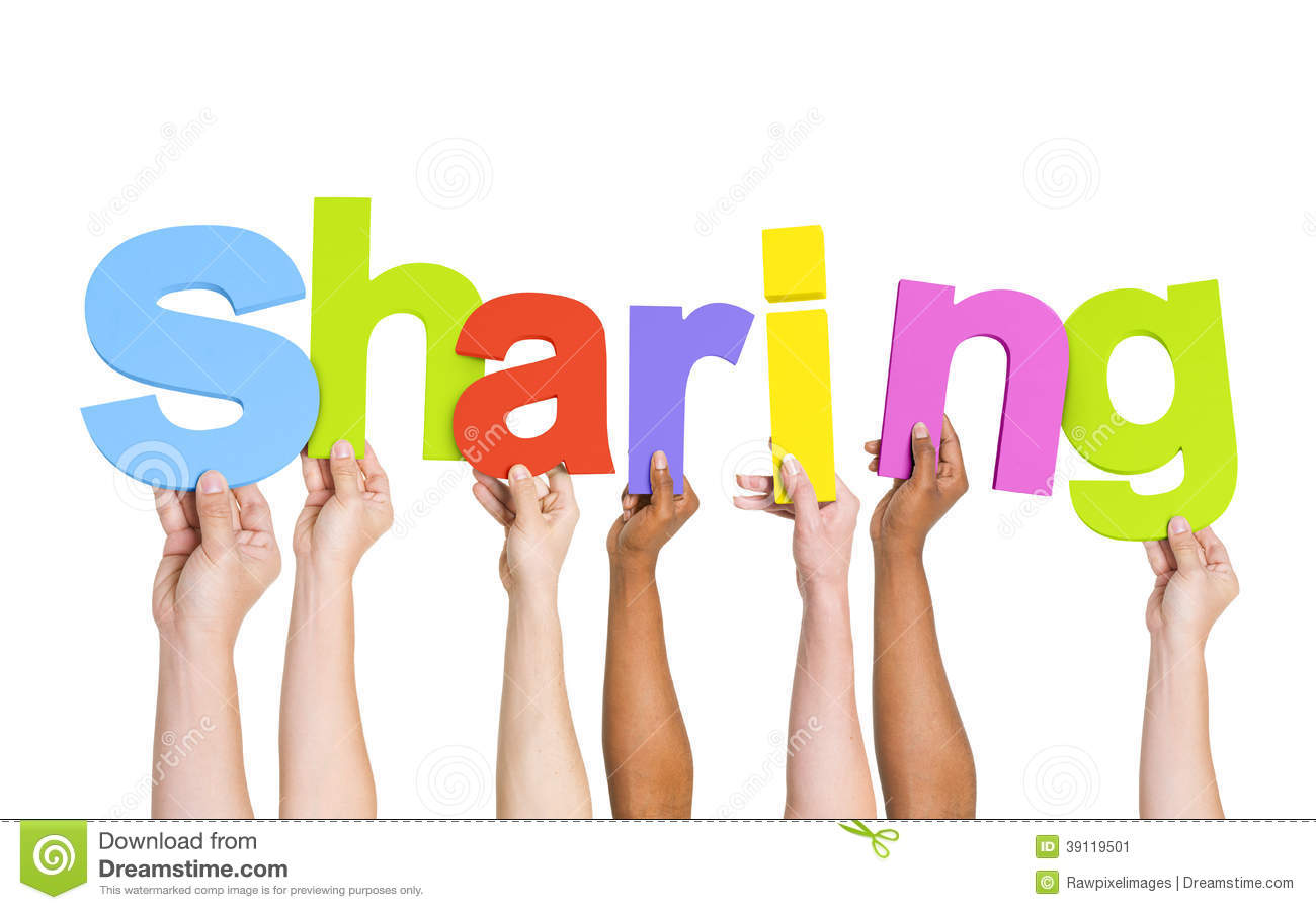 multi ethnic hands holding the word sharing stock image image of