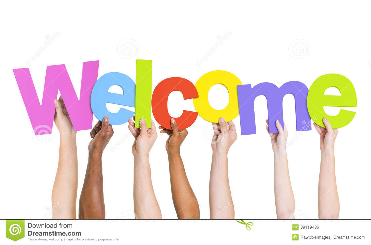 Multi-Ethnic Hands Holding The Word Welcome Stock Illustration - Image ...