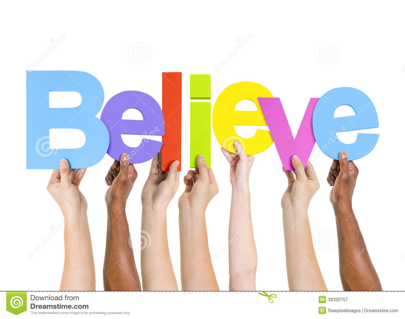 Multi Ethnic People Holding The Word Believe Stock Photo ...