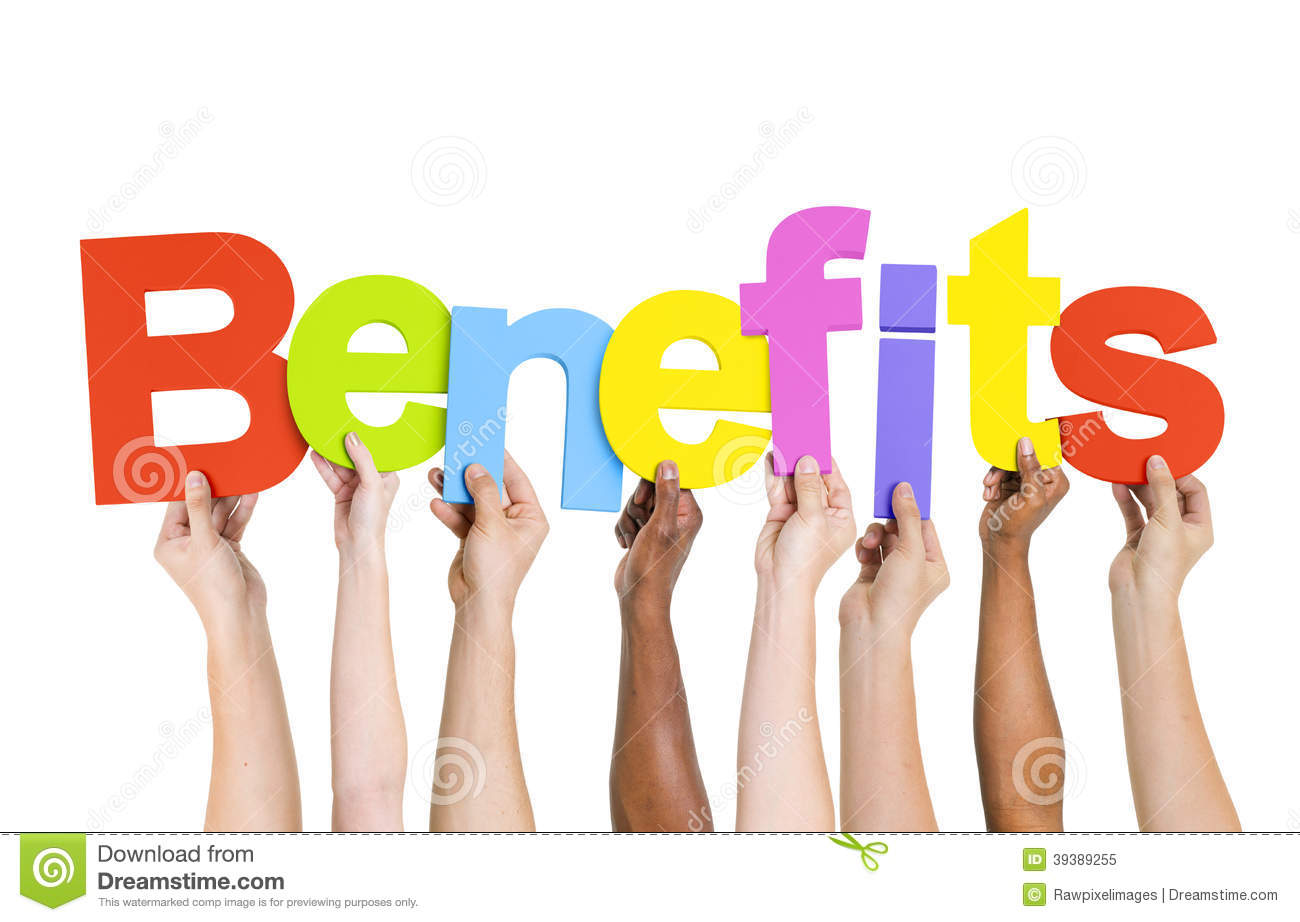 Multi Ethnic People Holding The Word Benefits Stock ...