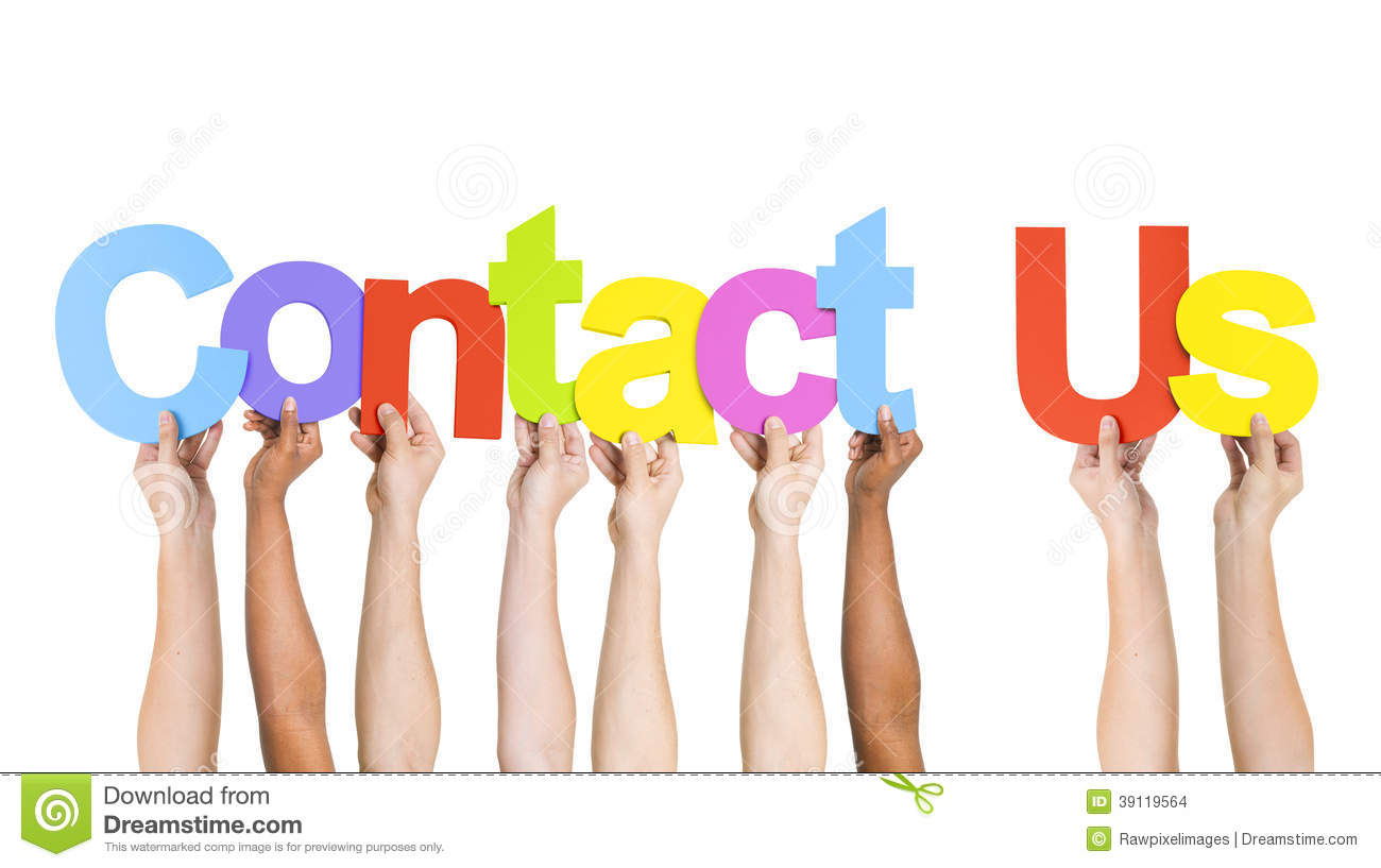 multi ethnic people holding words contact us stock photo