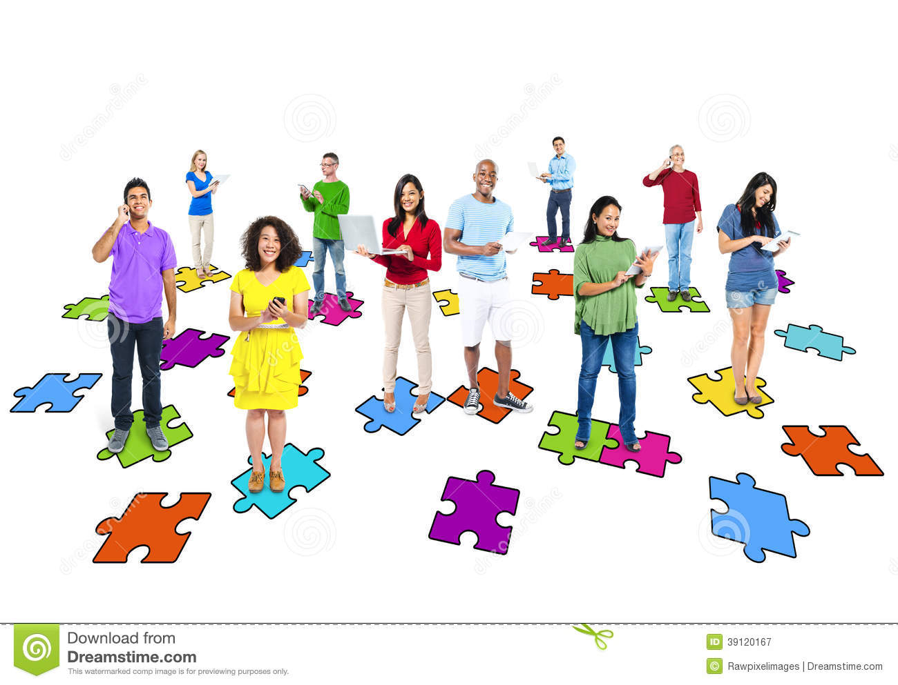 Multi Ethnic People Standing On Jigsaw Puzzle Stock Image