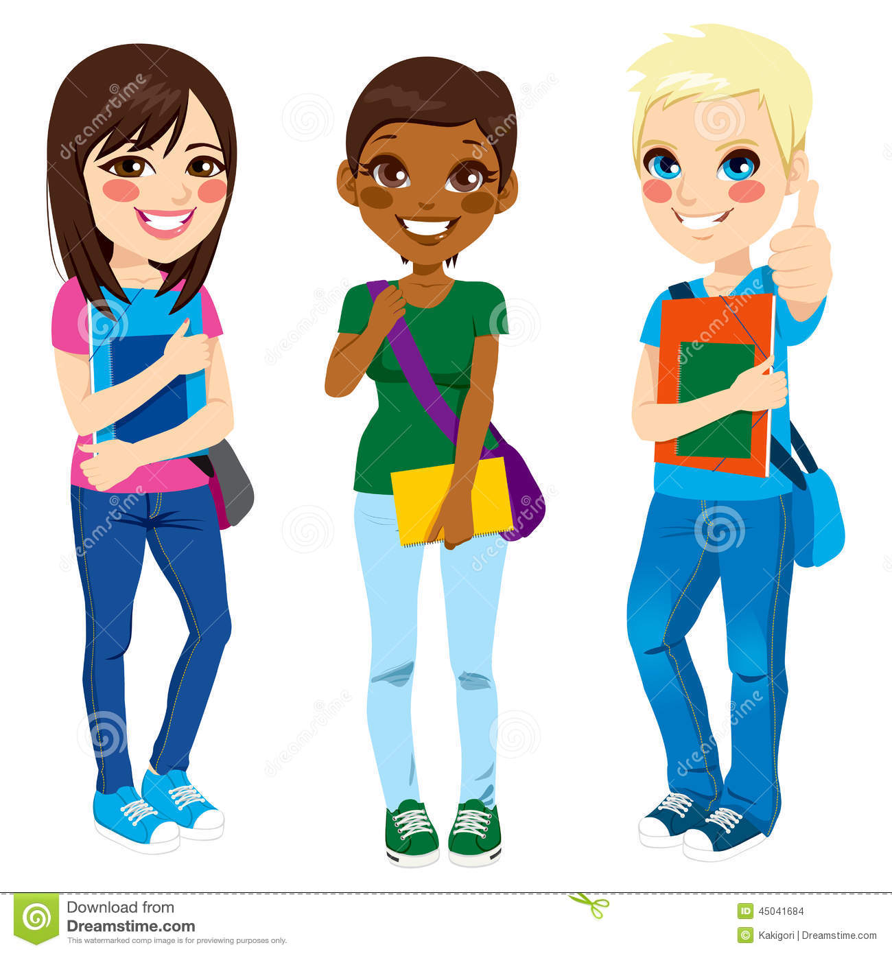 Schools Education6 25 18students: Multi Ethnic Students Stock Vector. Image Of Asian, High