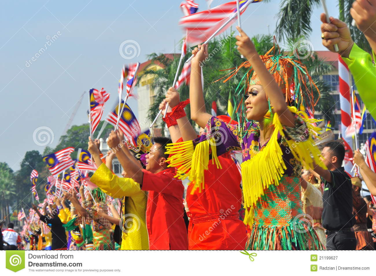 Multi ethnics Malaysia with the national flags