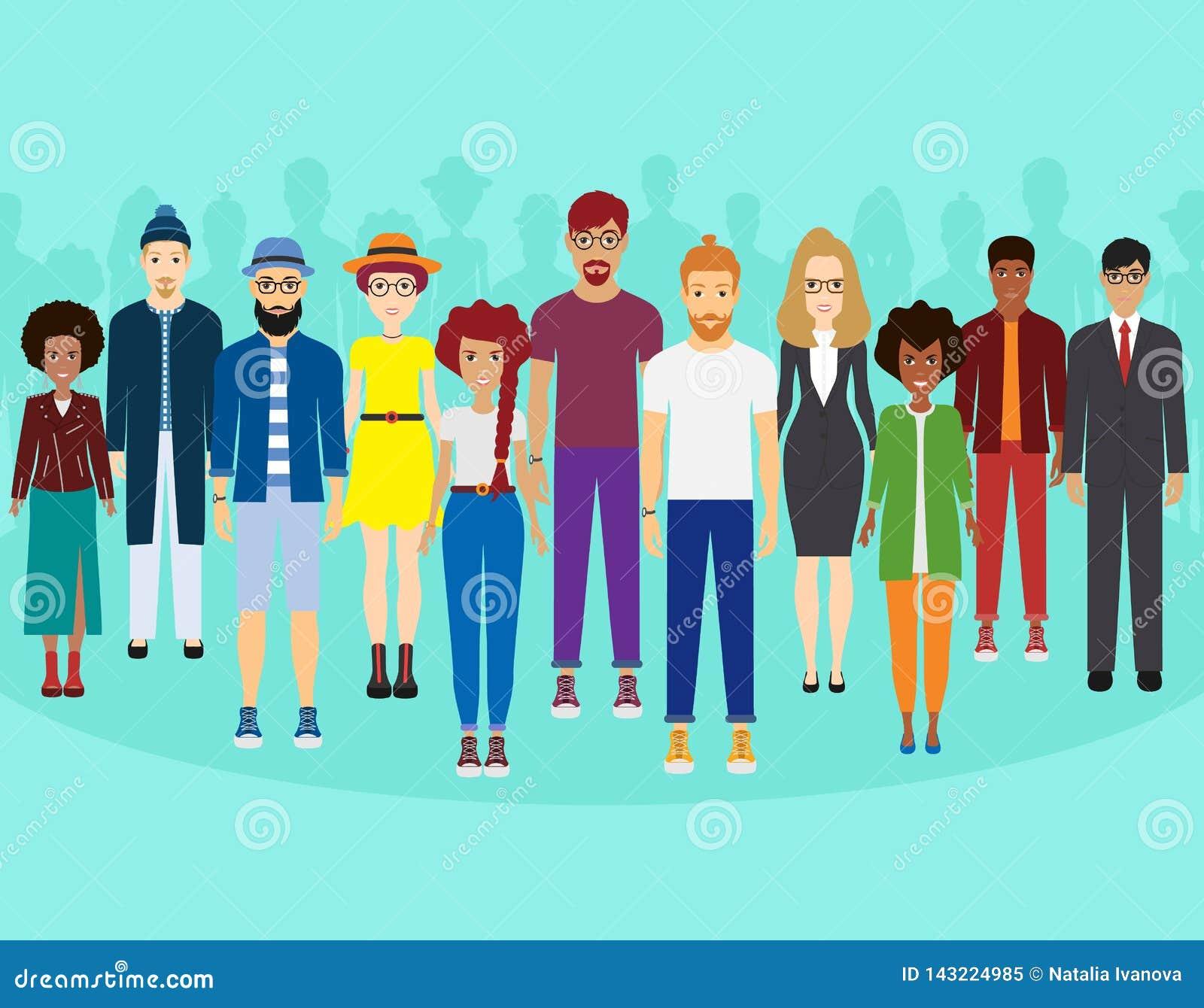 Multi-etnische groep die mensen, gemeenschap en samenhorigheidsconcept zich verenigen