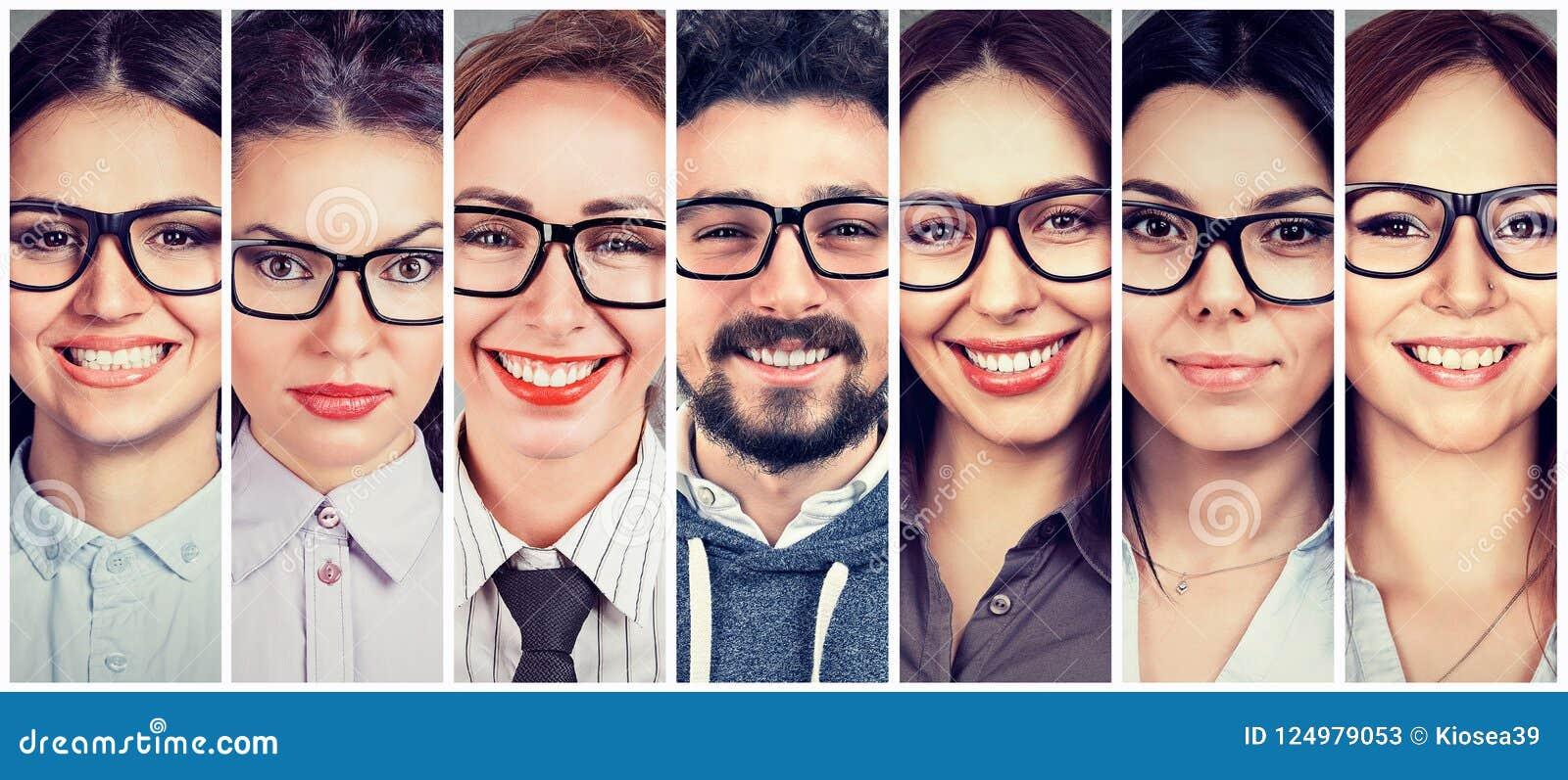 Multi-etnische groep gelukkige jonge vrouwen in glazen en één vrolijke kerel