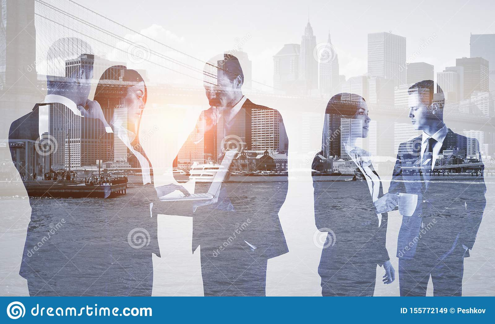 Multi exposure of group of business people
