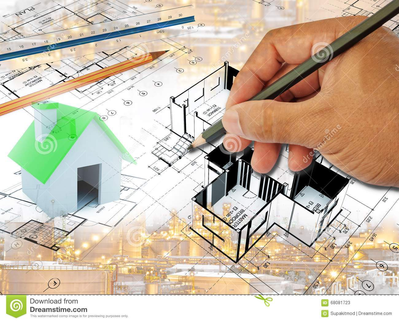 Drawing of home plan stock photography for Plot plan drawing