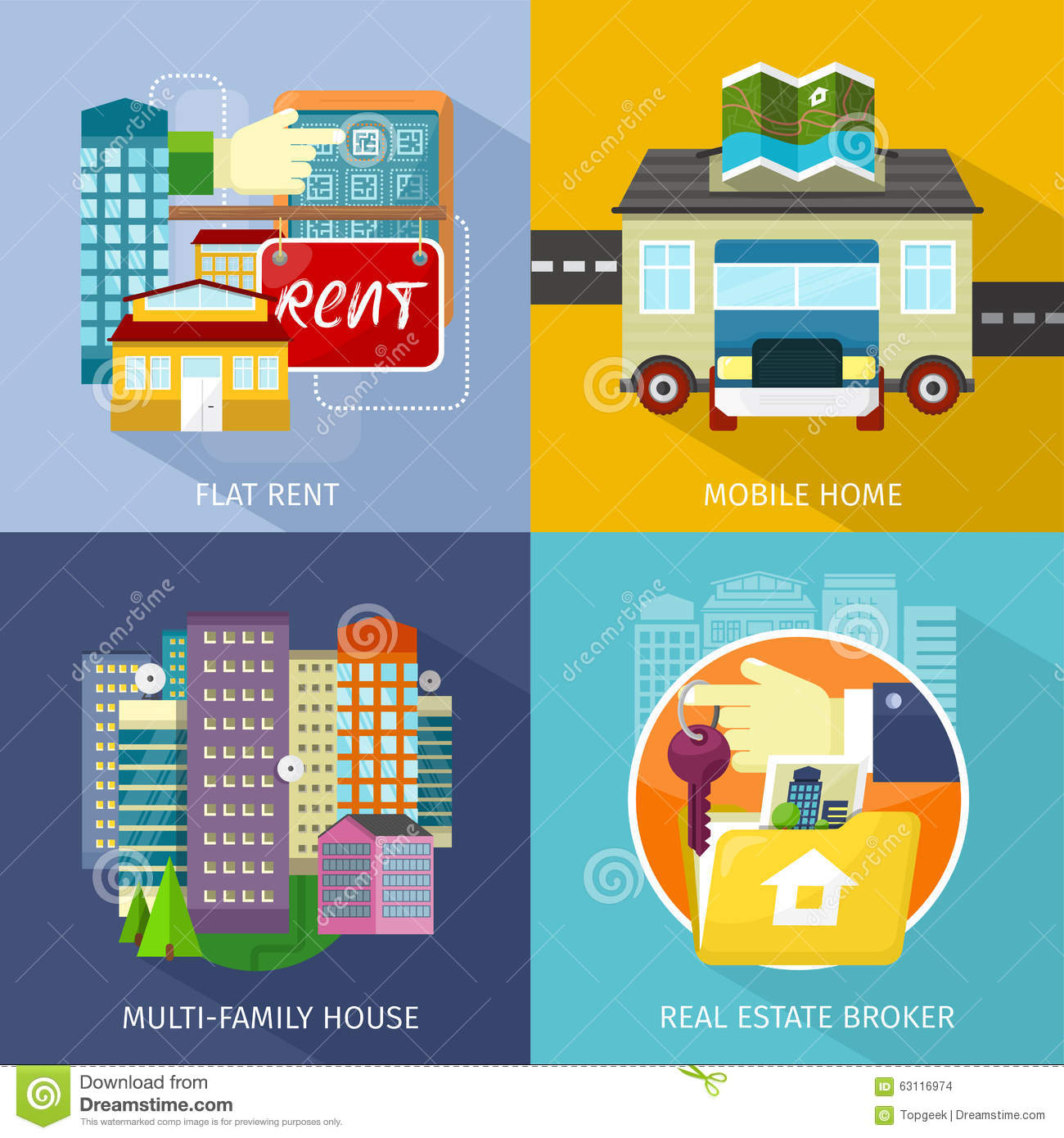 Multi family house mobile home flat rent stock vector for Multi family modular home prices