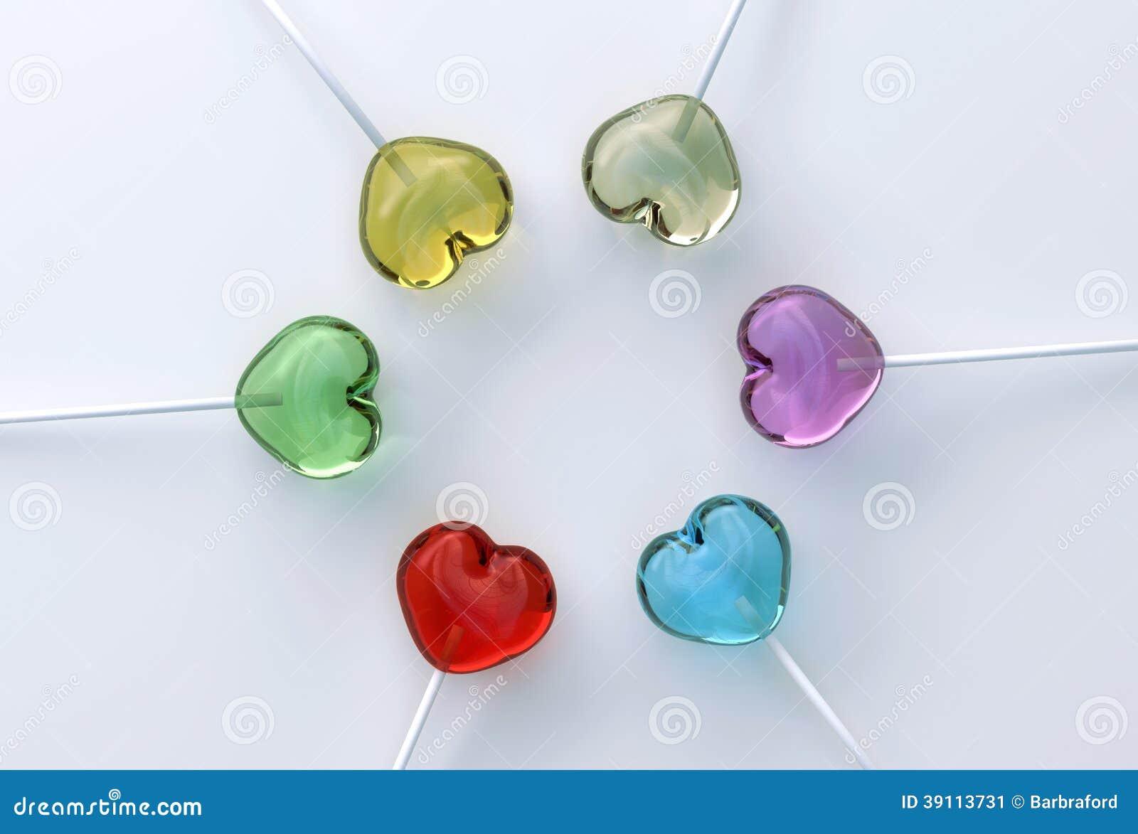 Multi gekleurde hartvorm lollypops