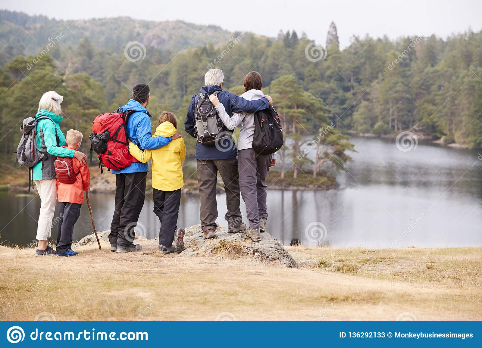 Multi generation family embracing and admiring the lakeside view, back view, Lake District, UK