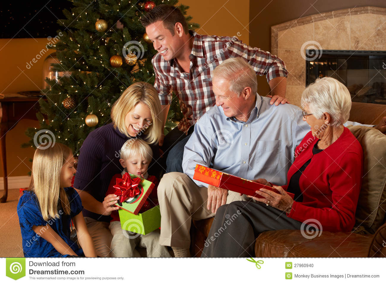 download multi generation family opening christmas presents stock photo image of christmas horizontal