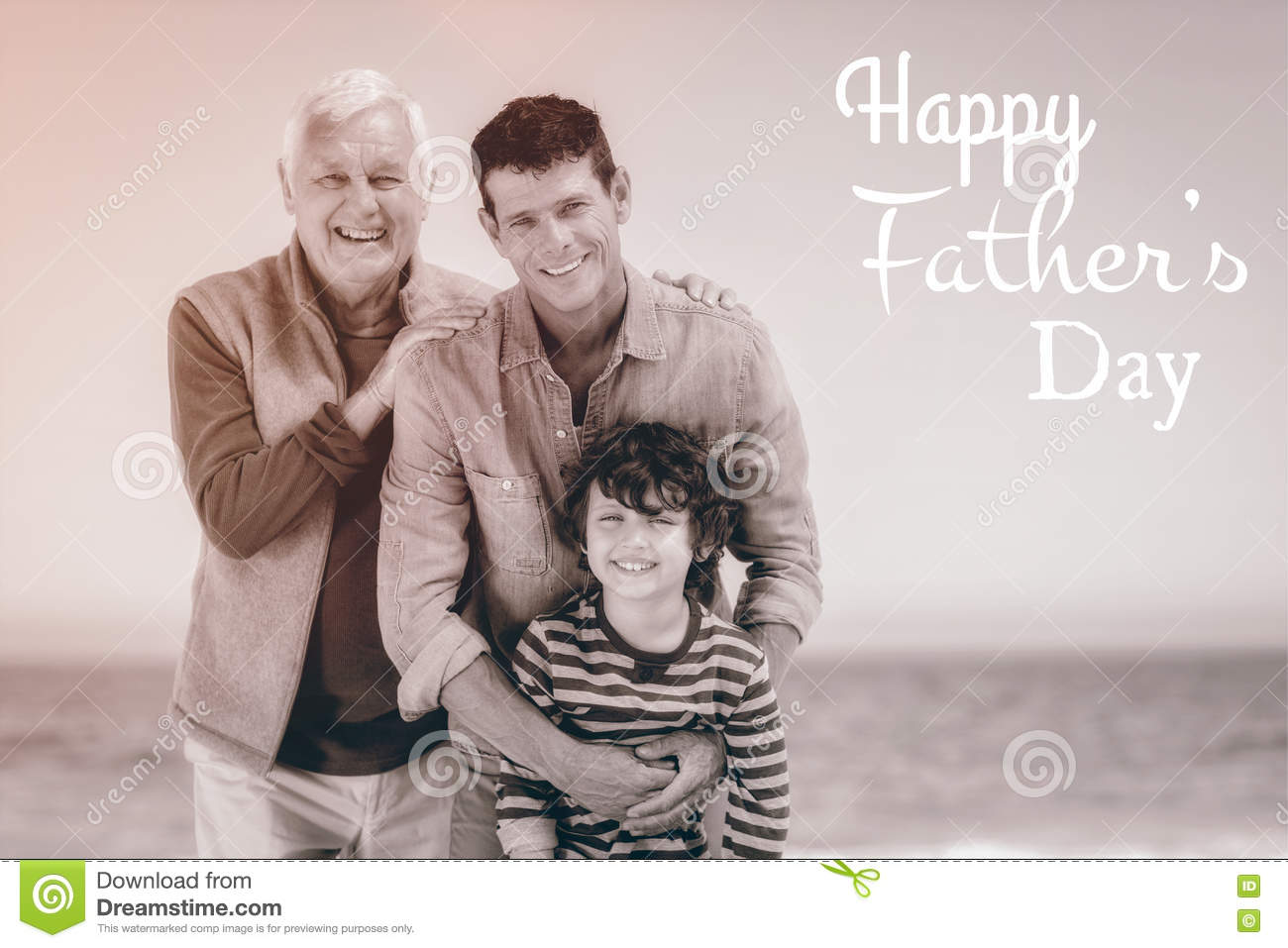 Multi generational family with Happy fathers day