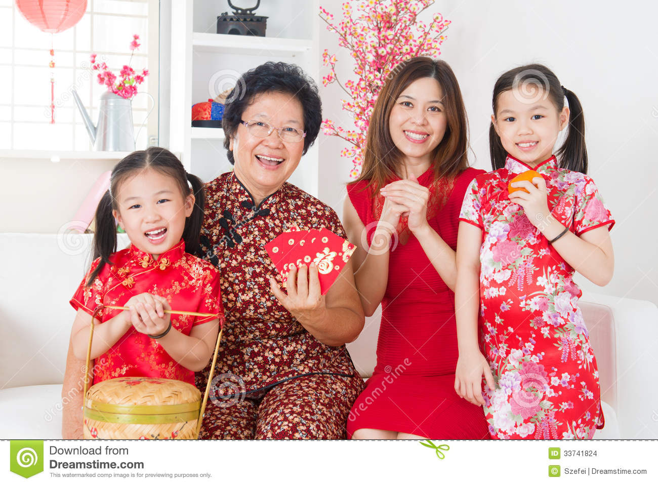 Multi Generations Asian Family Celebrate Chinese New Year Stock