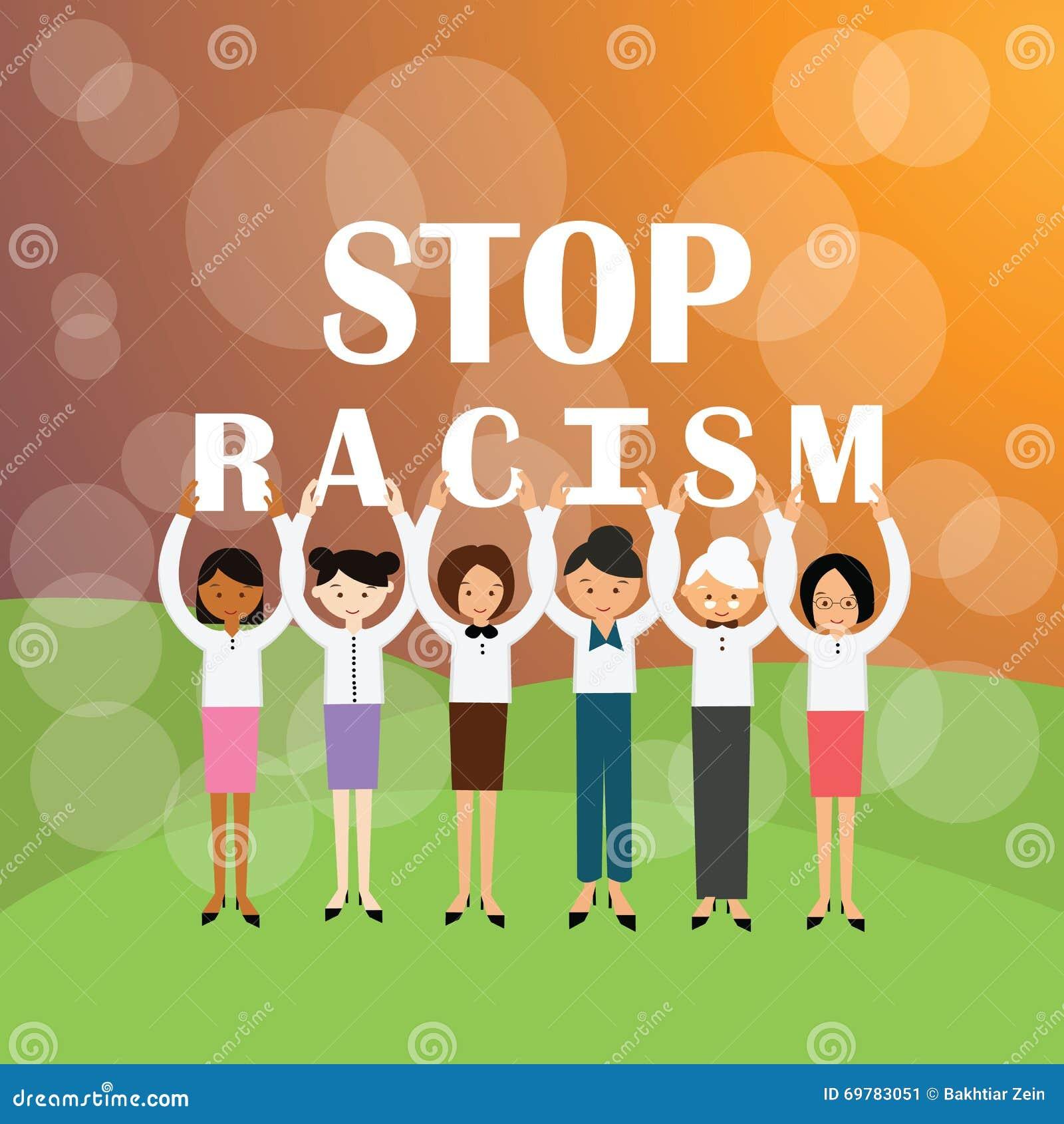 Multi het behoren tot een bepaald rasgroep die van het einderacisme mensen de beweging van de teken againts rassendiscriminatie h