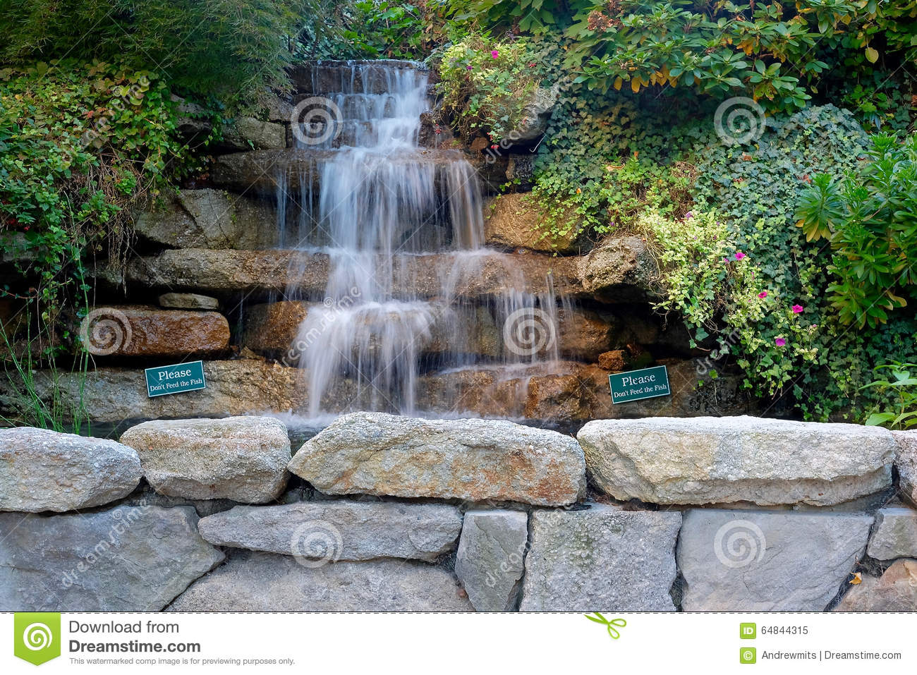 Multi level garden waterfall stock image image 64844315 - Wasserfall wand selber bauen ...