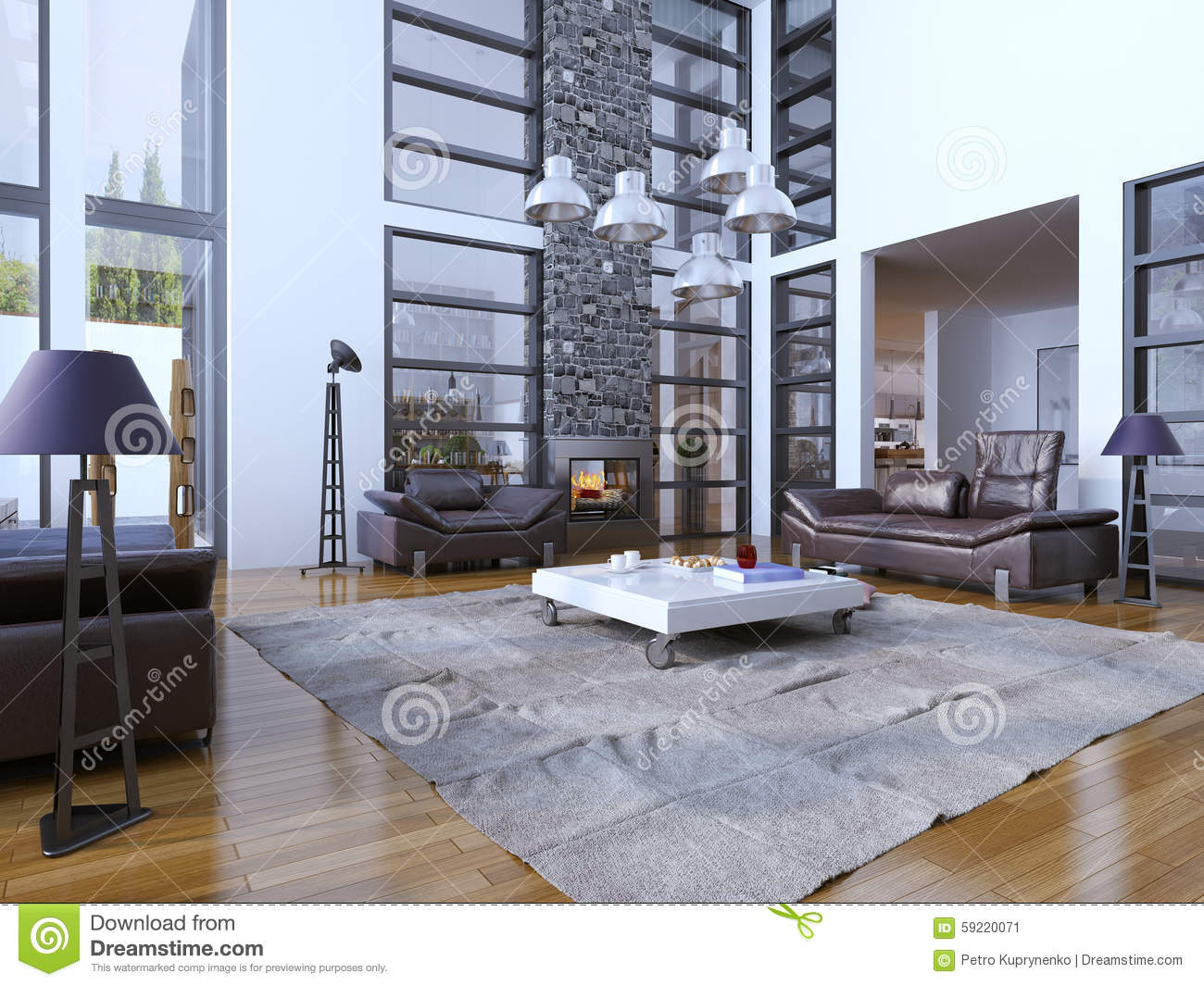 Idea Of Avant Garde Living Room With Fireplace Royalty