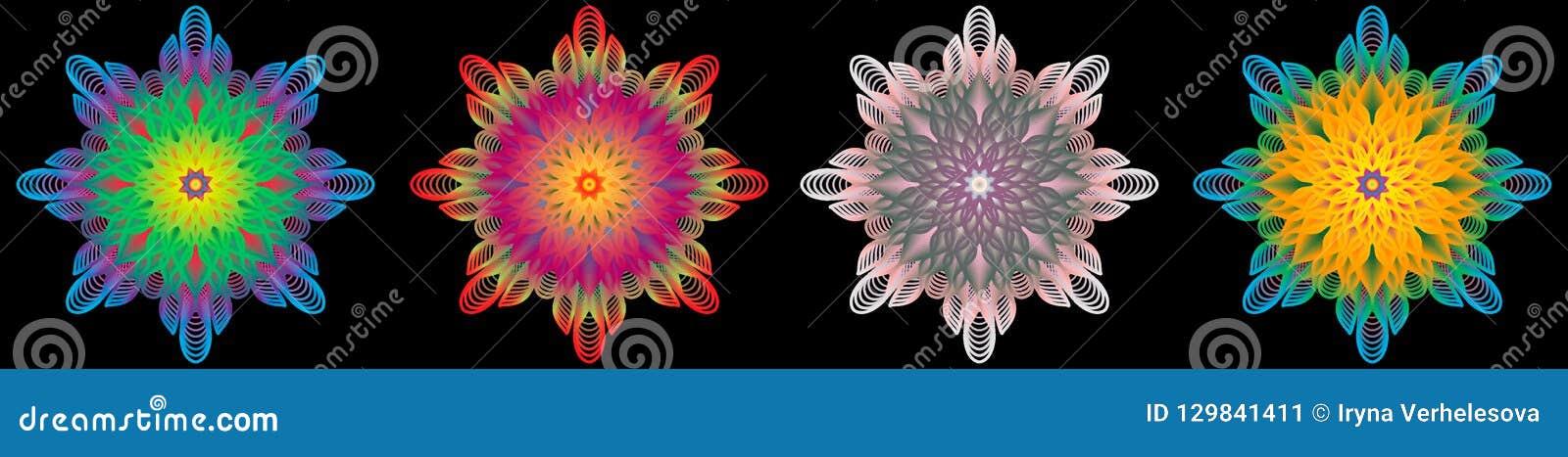 Multi modello d annata orientale colorato con gli elementi floreali di arabesque, mandala