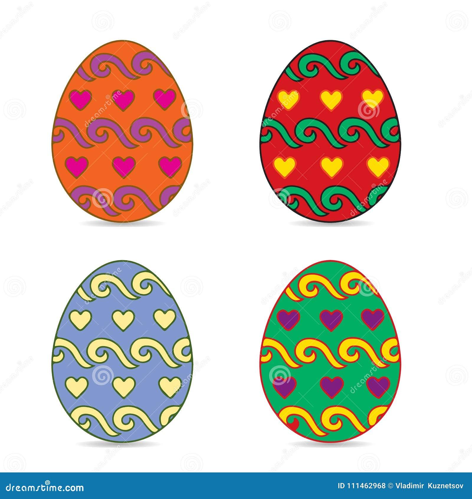 Multi Ovos Da Pascoa Coloridos Decorados Em Coracoes Do Teste