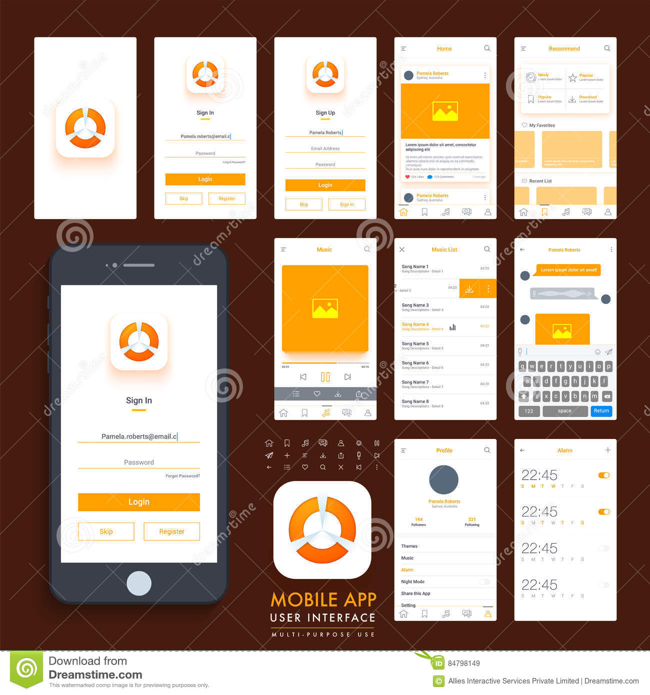 Set Of Mobile Sign In And Sign Up UI Template. Stock