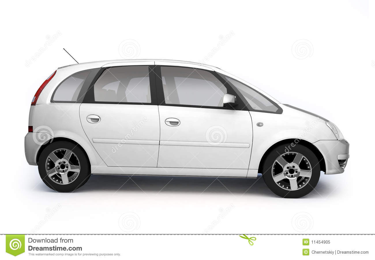 multipurpose white car side view stock illustration