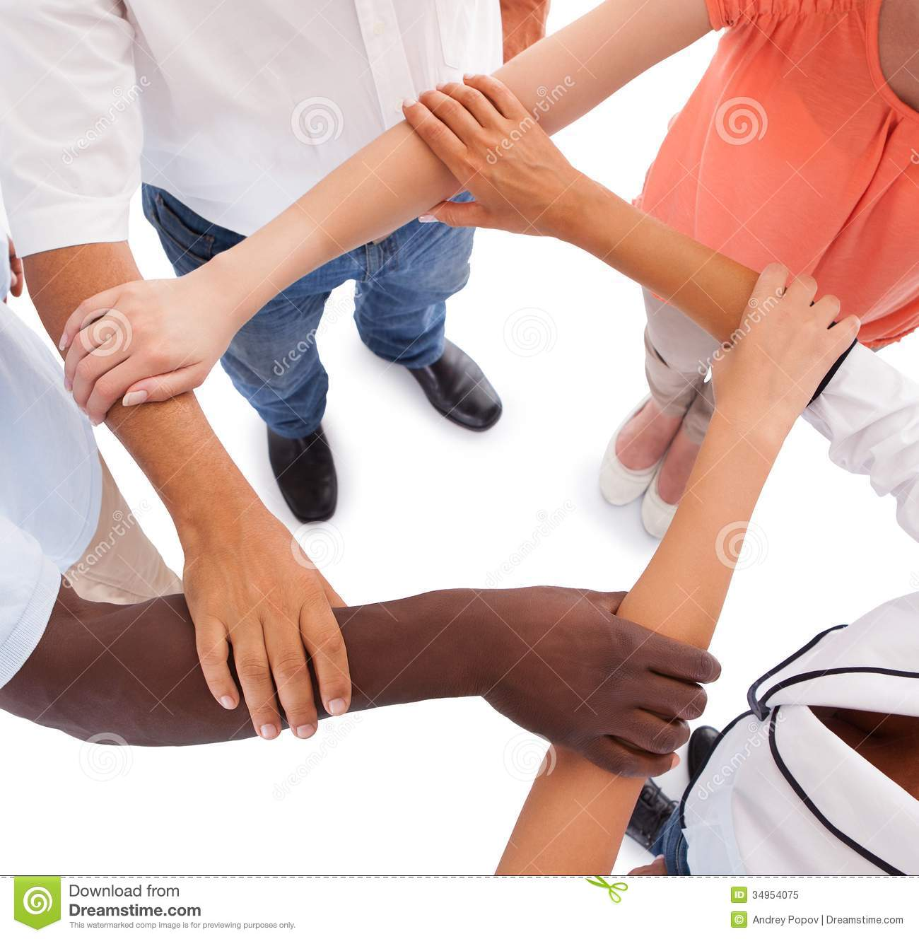 Multi racial Hands Holding Each Other Royalty Free Stock