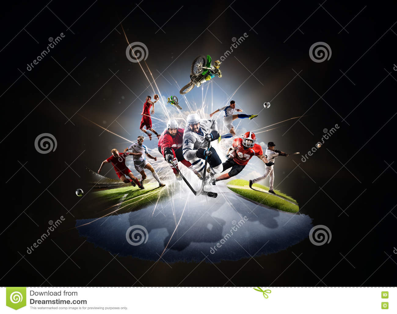 Multi sports collage soccer basketball hockey footbal baseball dirt bike