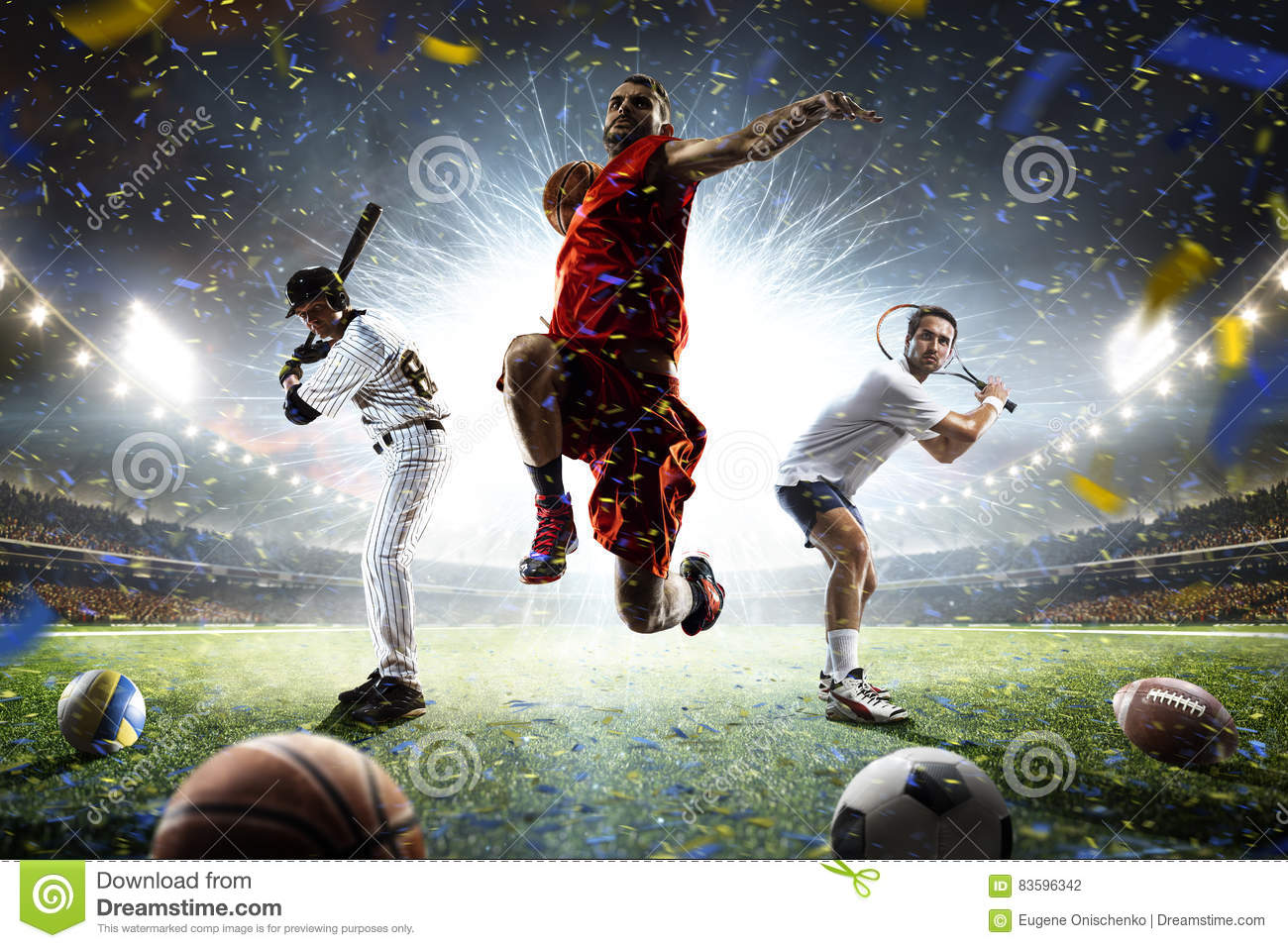 Sport Wallpaper Multiple: Multi Sports Players In Action Collage On Grand Arena
