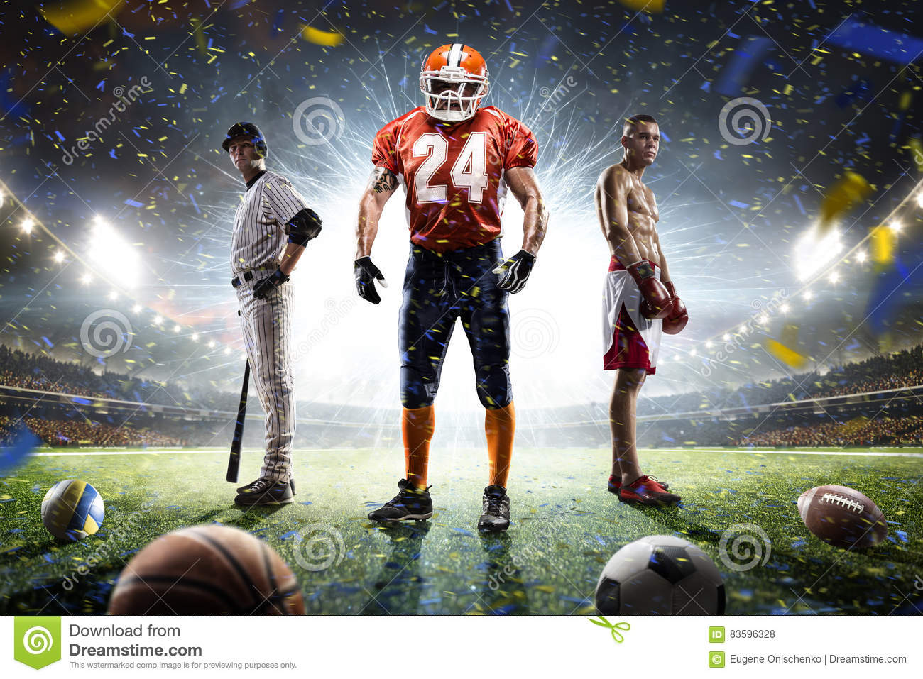 Sport Wallpaper Multiple: Multi Sports Proud Players Collage On Grand Arena Stock
