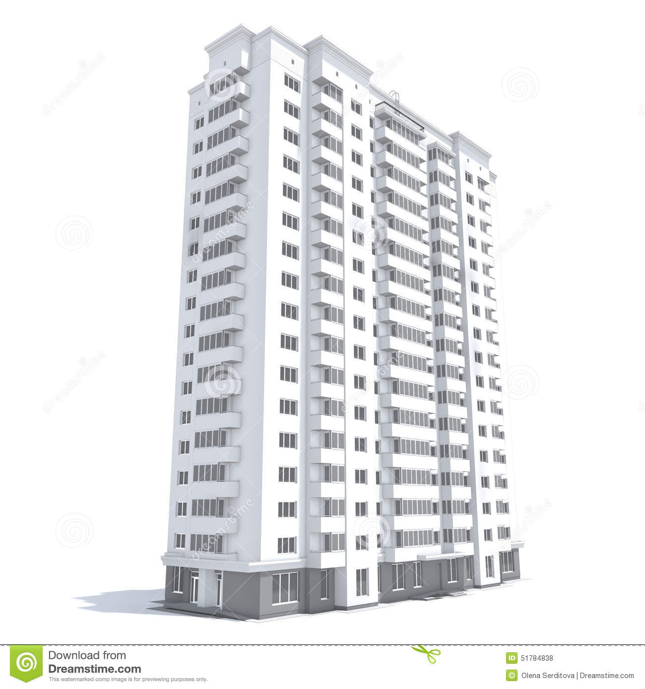 multi storey building d rendering modern residential isolated white 51784838