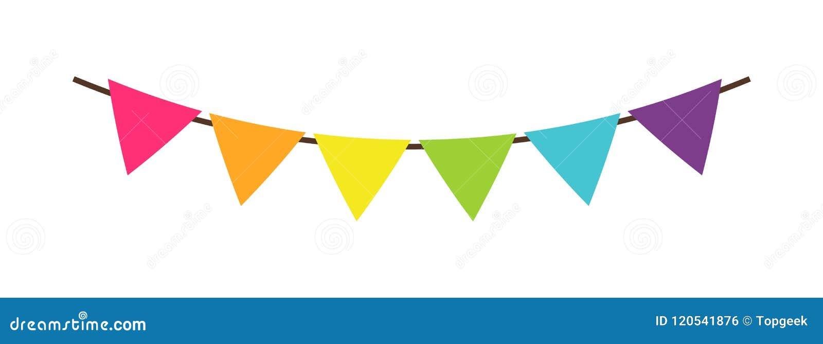 Multicolor триангулярные яркие бумажные флаги гирлянд