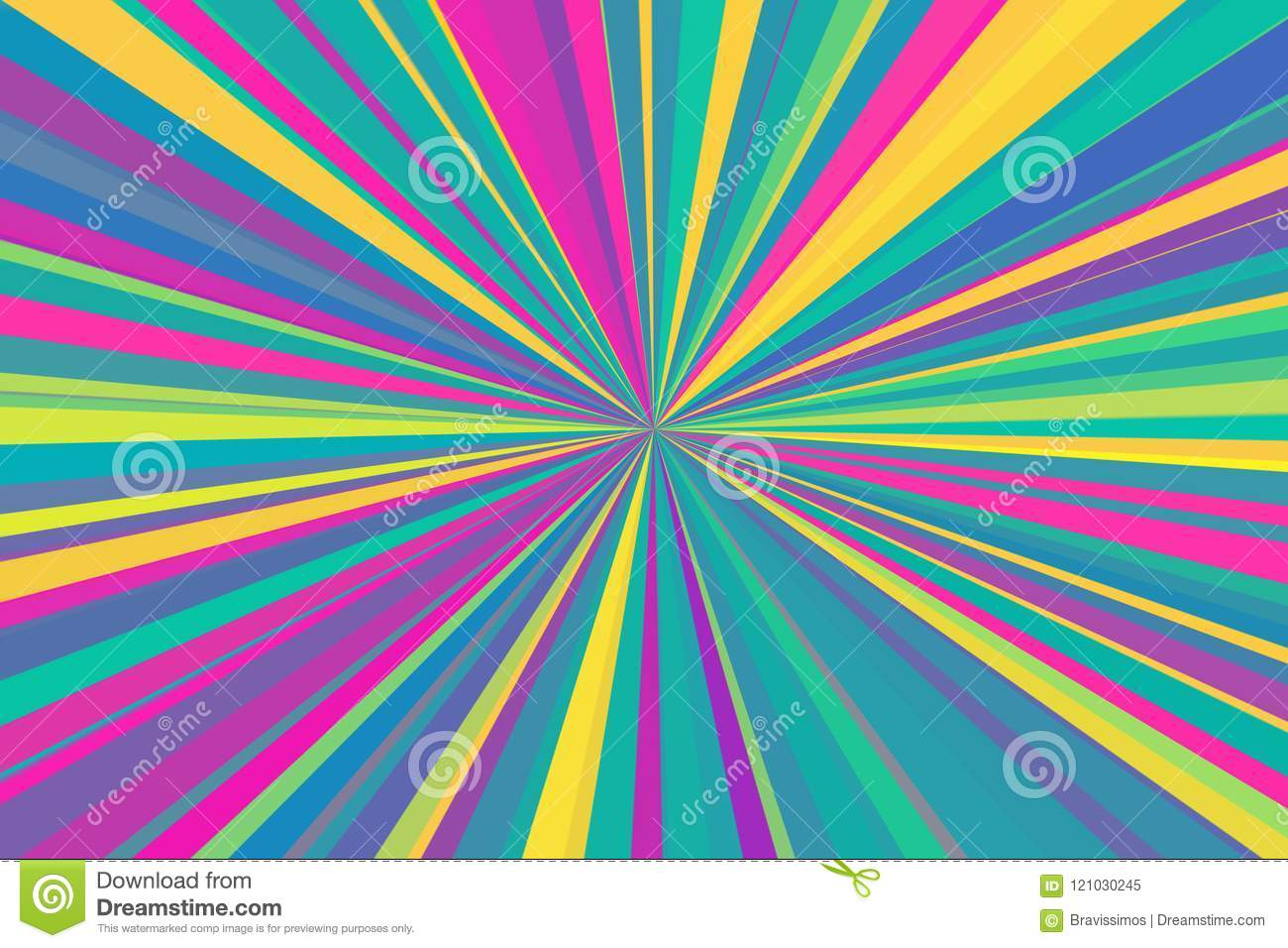 Multicolor abstract rays background. Colorful stripes beam pattern. Stylish illustration modern trend colors.