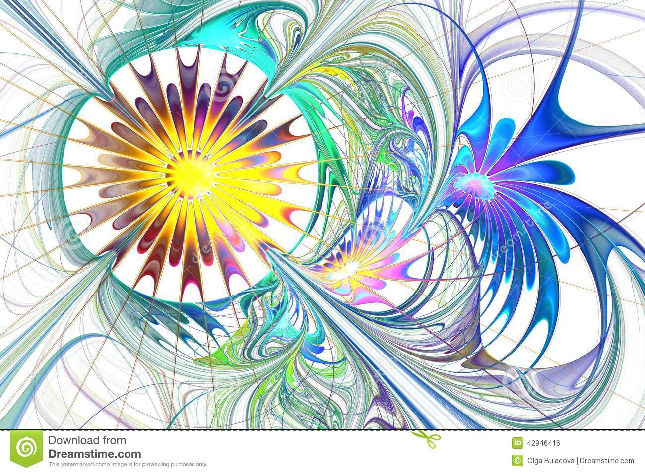 Multicolor beautiful fractal flower in blue, purple and brown.