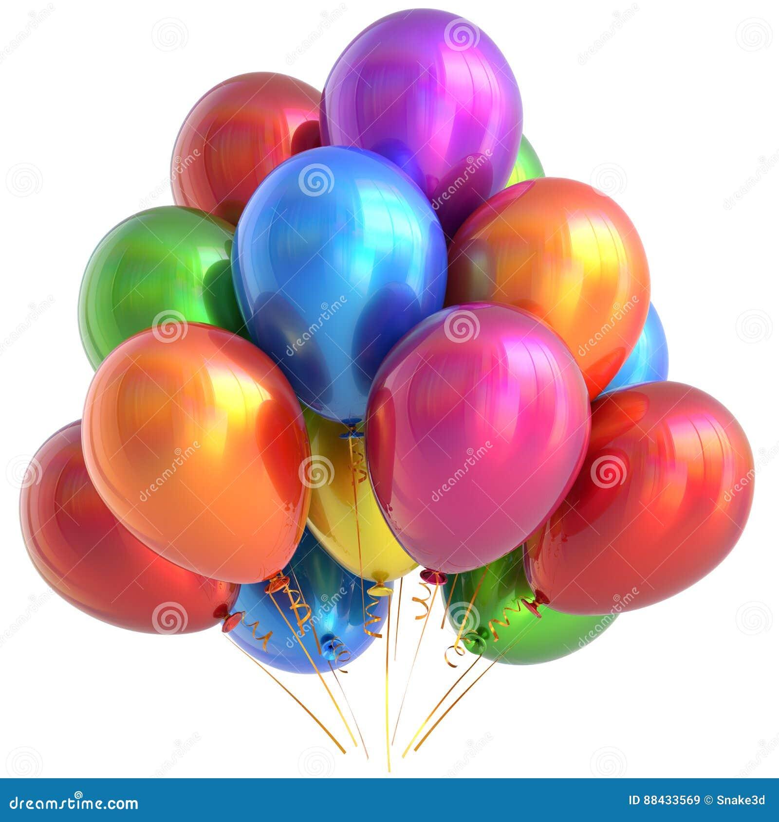 multicolor brillante de la decoracin del partido del feliz cumpleaos de los globos imgenes de archivo
