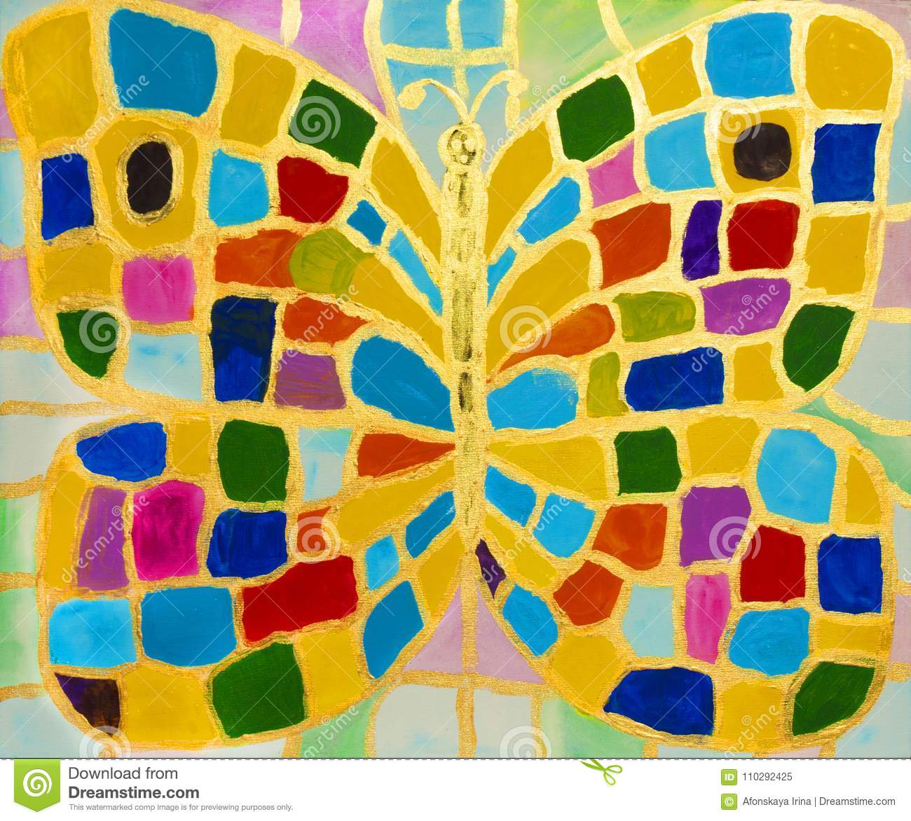 Multicolor butterfly, painting