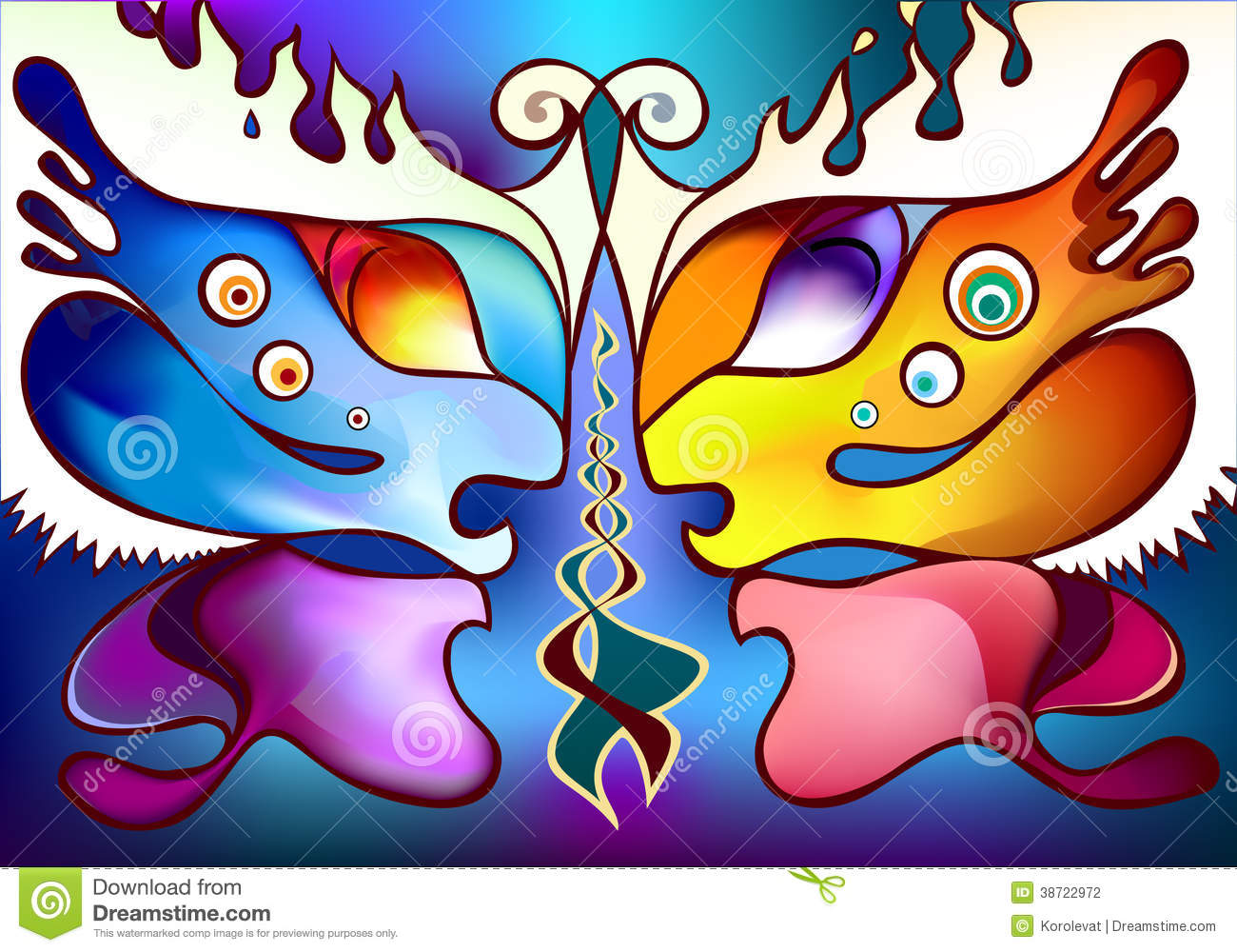 multicolor butterfly wings as two half faces stock photography