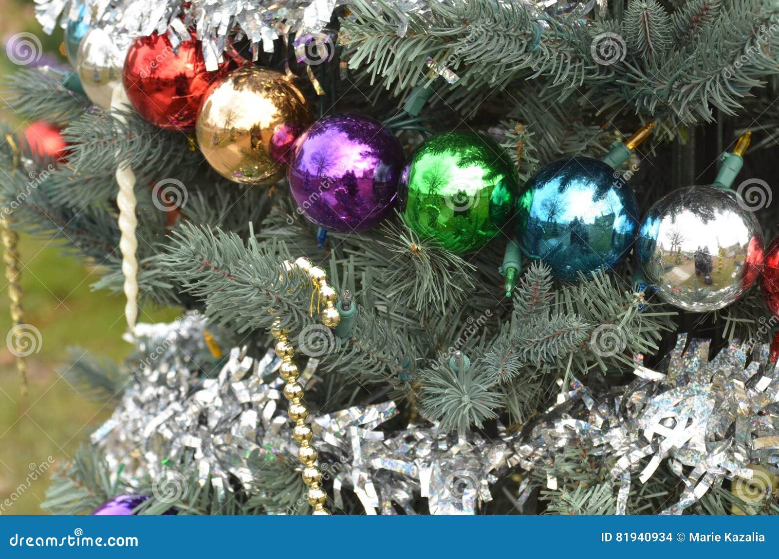 Multicolor Christmas Ball Tree Ornaments Stock Photo   Image of ...