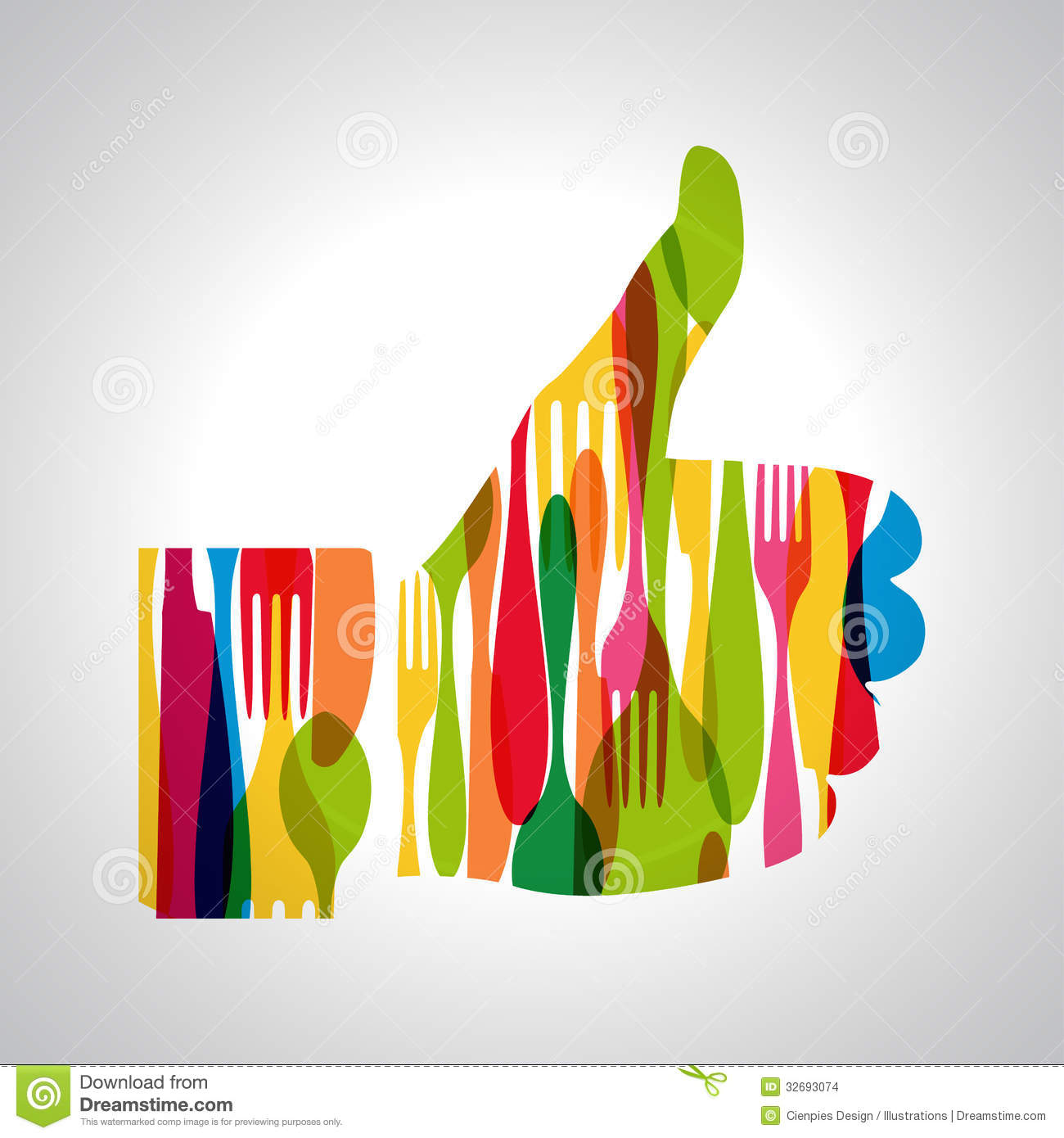 Multicolor Cutlery Thumb Up Stock Vector Image 32693074