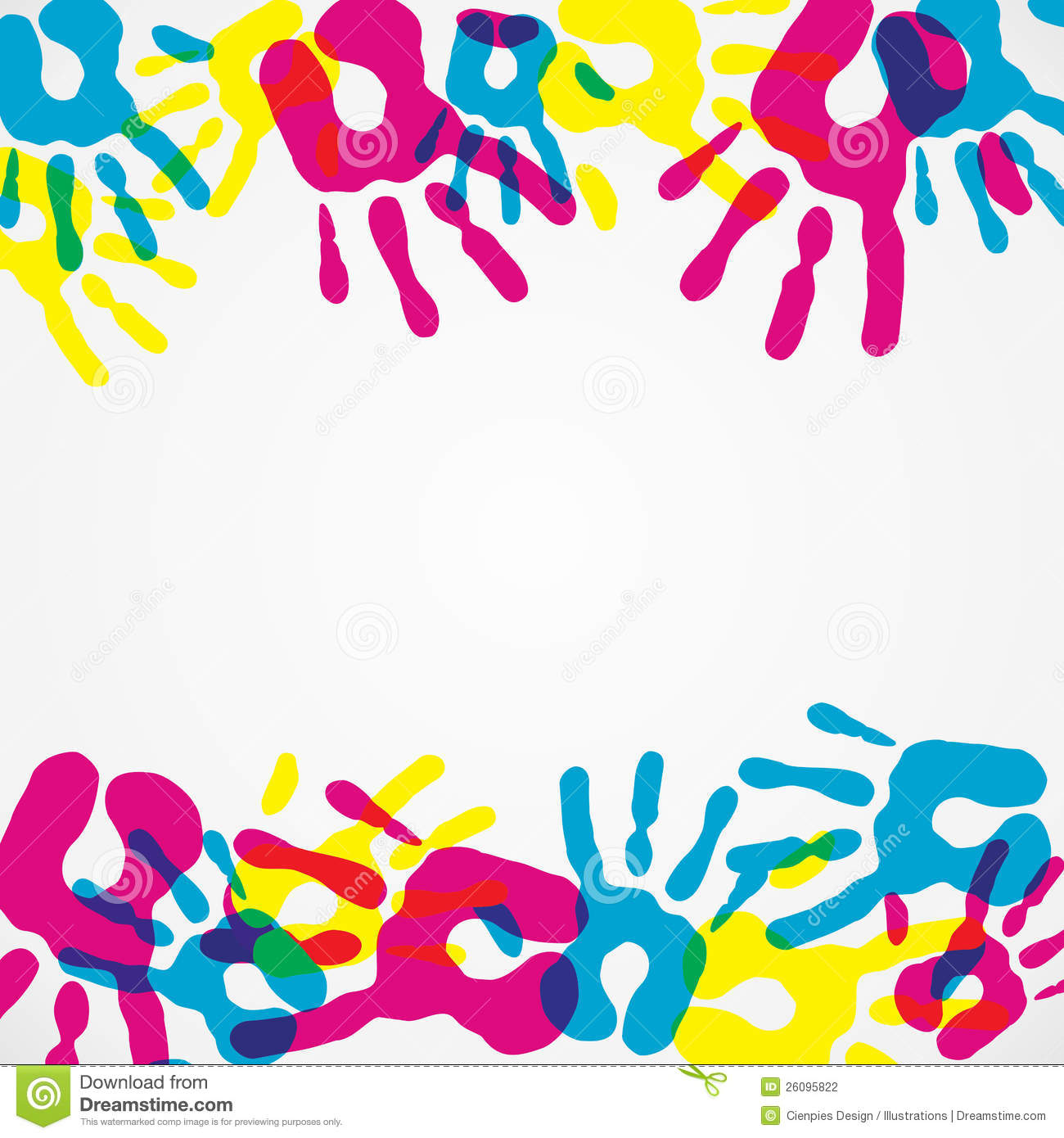 Multicolor creative diversity hands background. Vector illustration ...