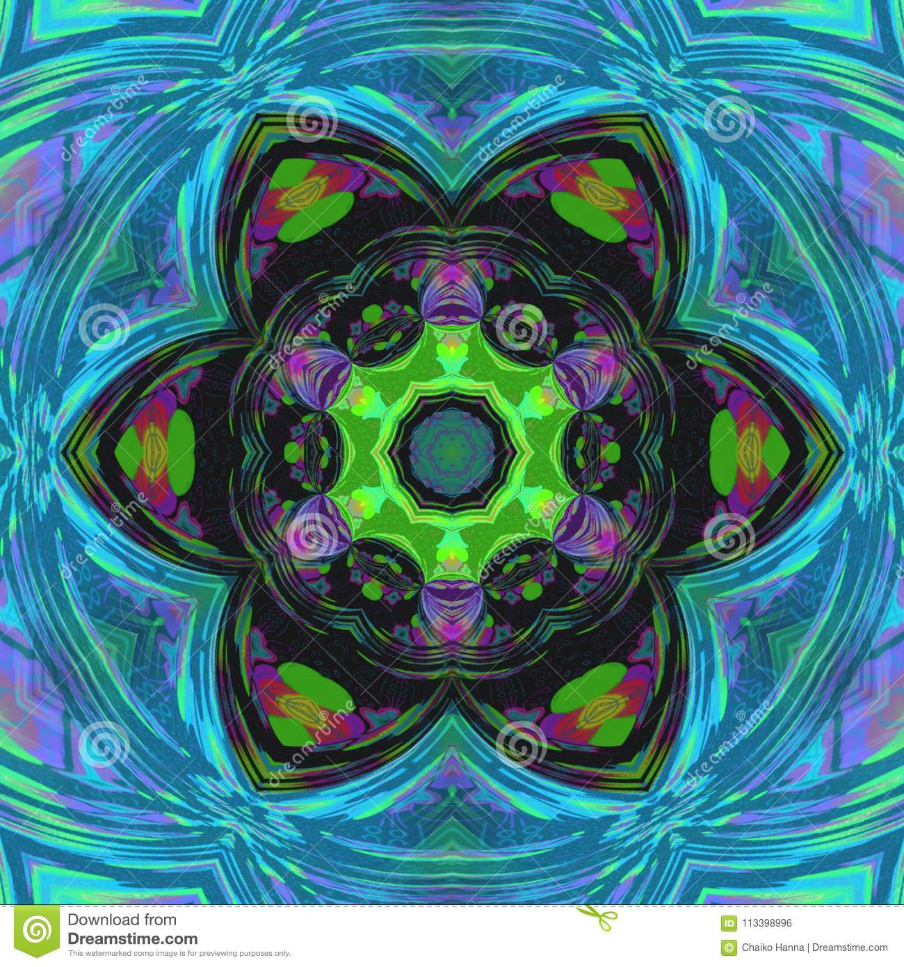 Symmetrical multicolor fractal floral mandala in tile stained glass style