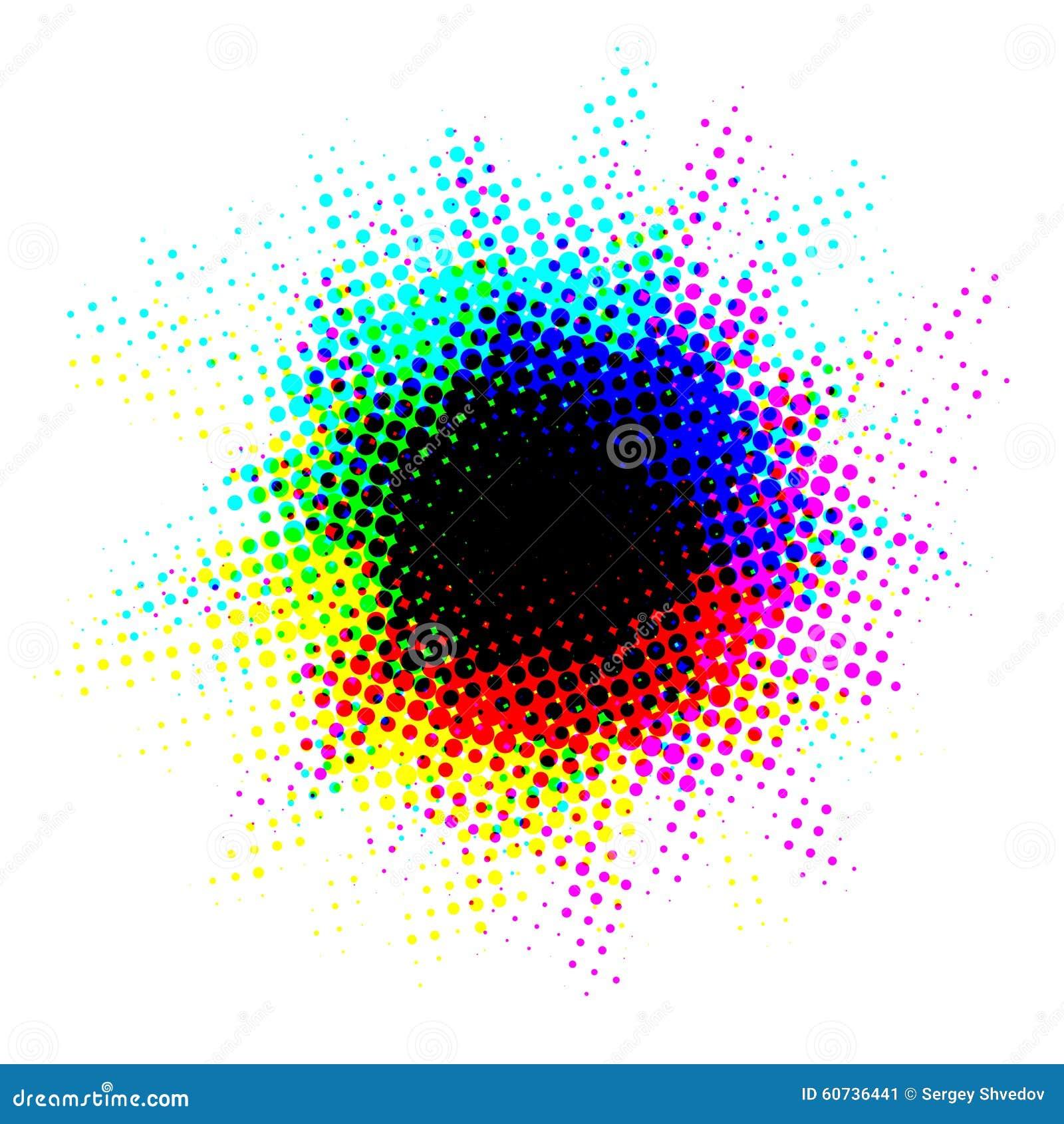 Multicolor halftone blot with dots