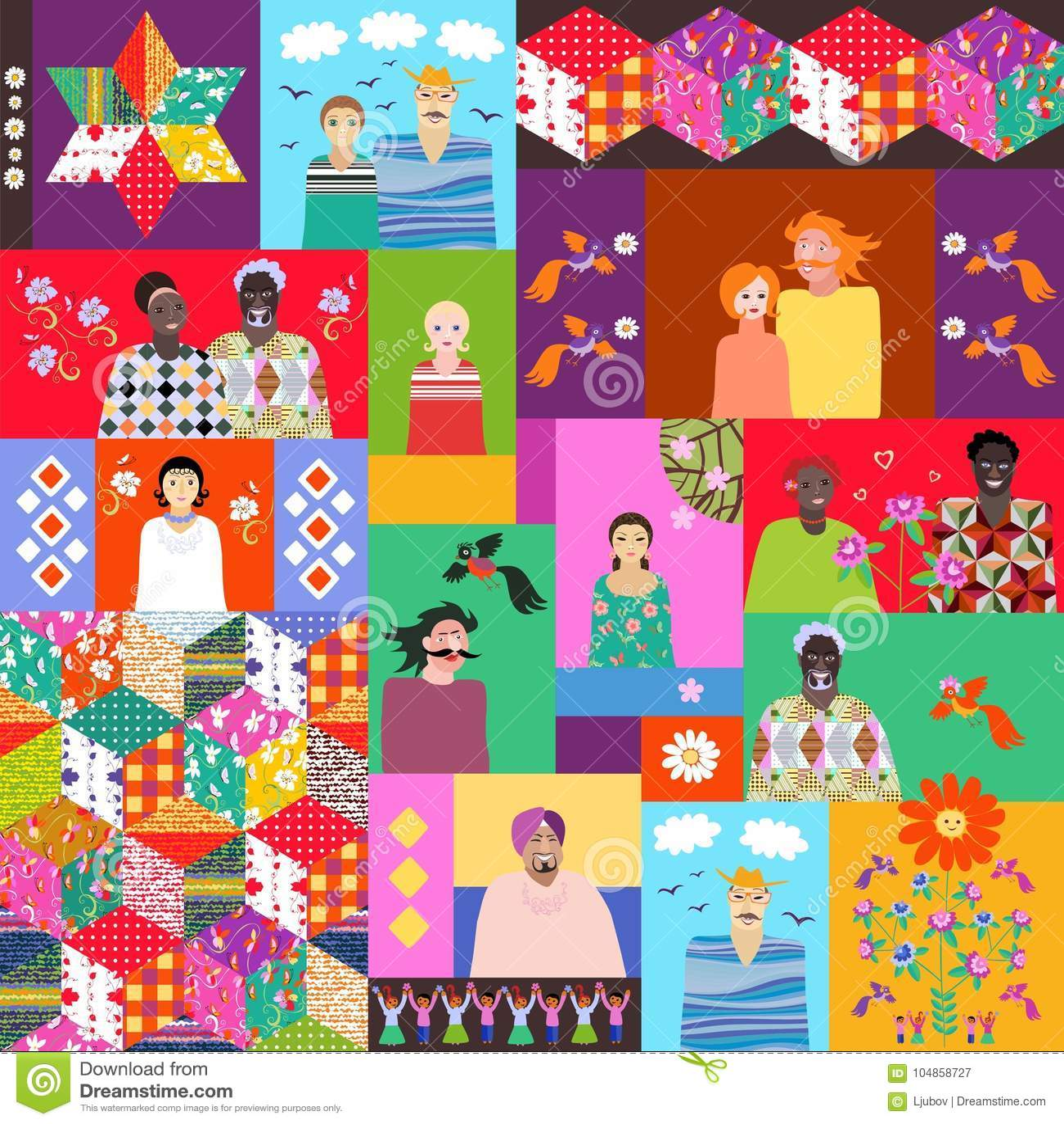 Multicolor kołderka z ślicznymi kreskówek ludźmi różni wieki, rasy, kwiaty, ptaki i patchworku wzór,