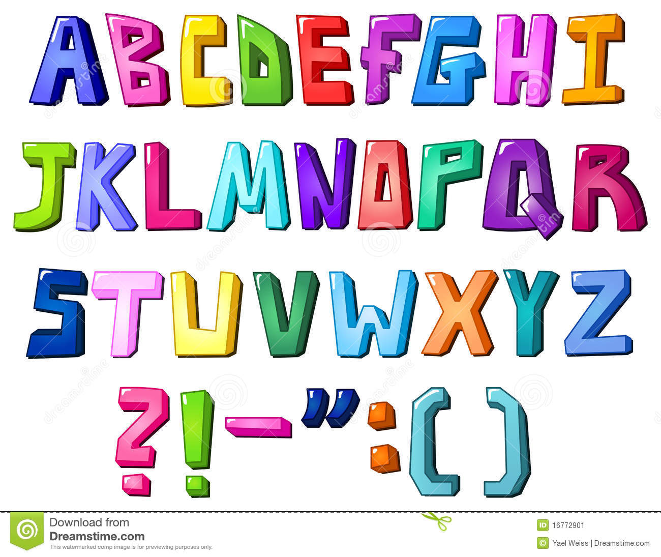 Multicolor Letters Stock Image