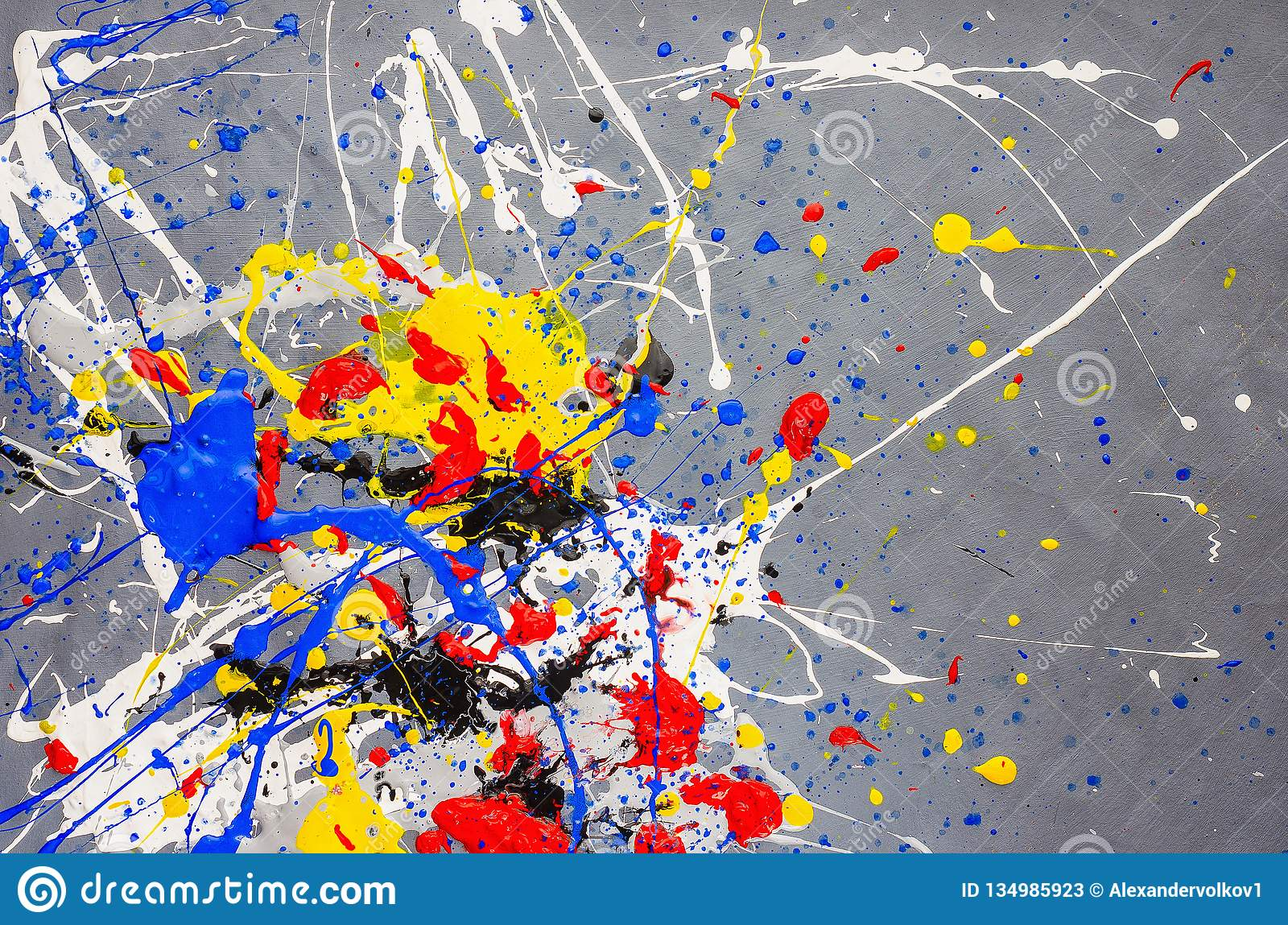 Multicolor paint dripping on background. Stylish acrylic liquid layered colorful painting concept