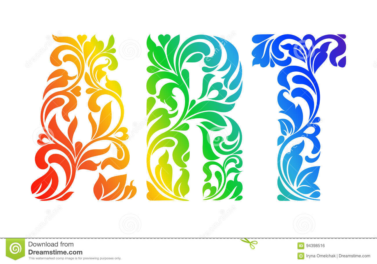 Download Multicolor Painted Word ART Decorative Font With Swirls And Flo Stock Vector