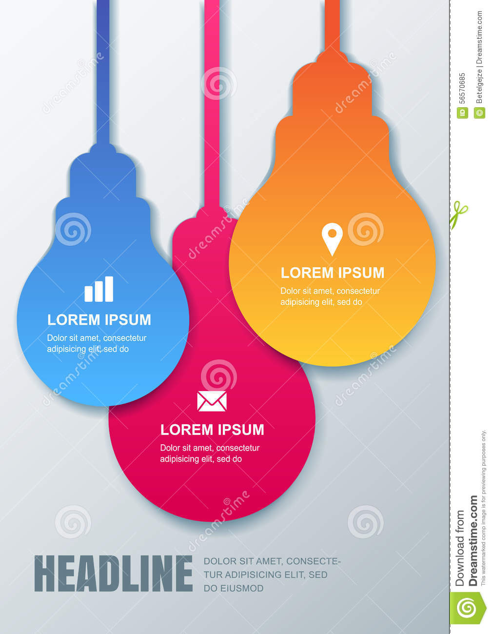 Multicolor Paper Lamp Vector Design Template Concept For Business