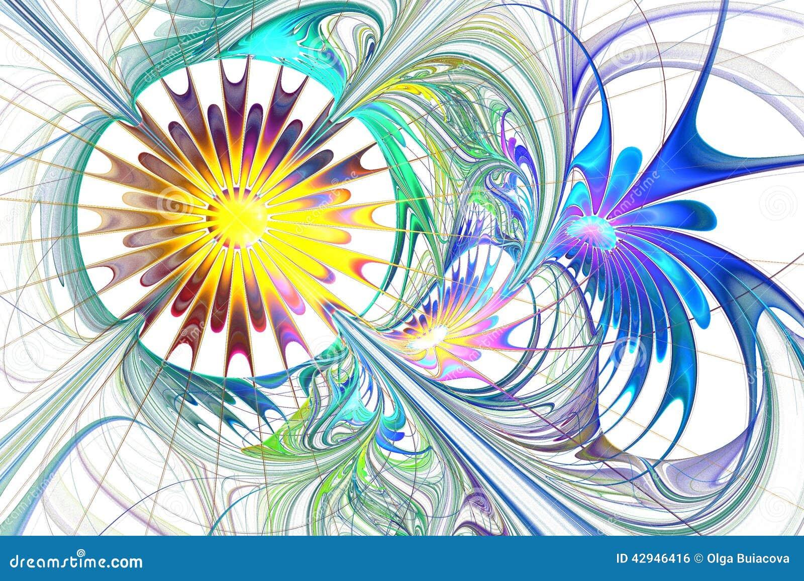 Multicolor piękny fractal kwiat w błękitnym, purpurach i brązie,