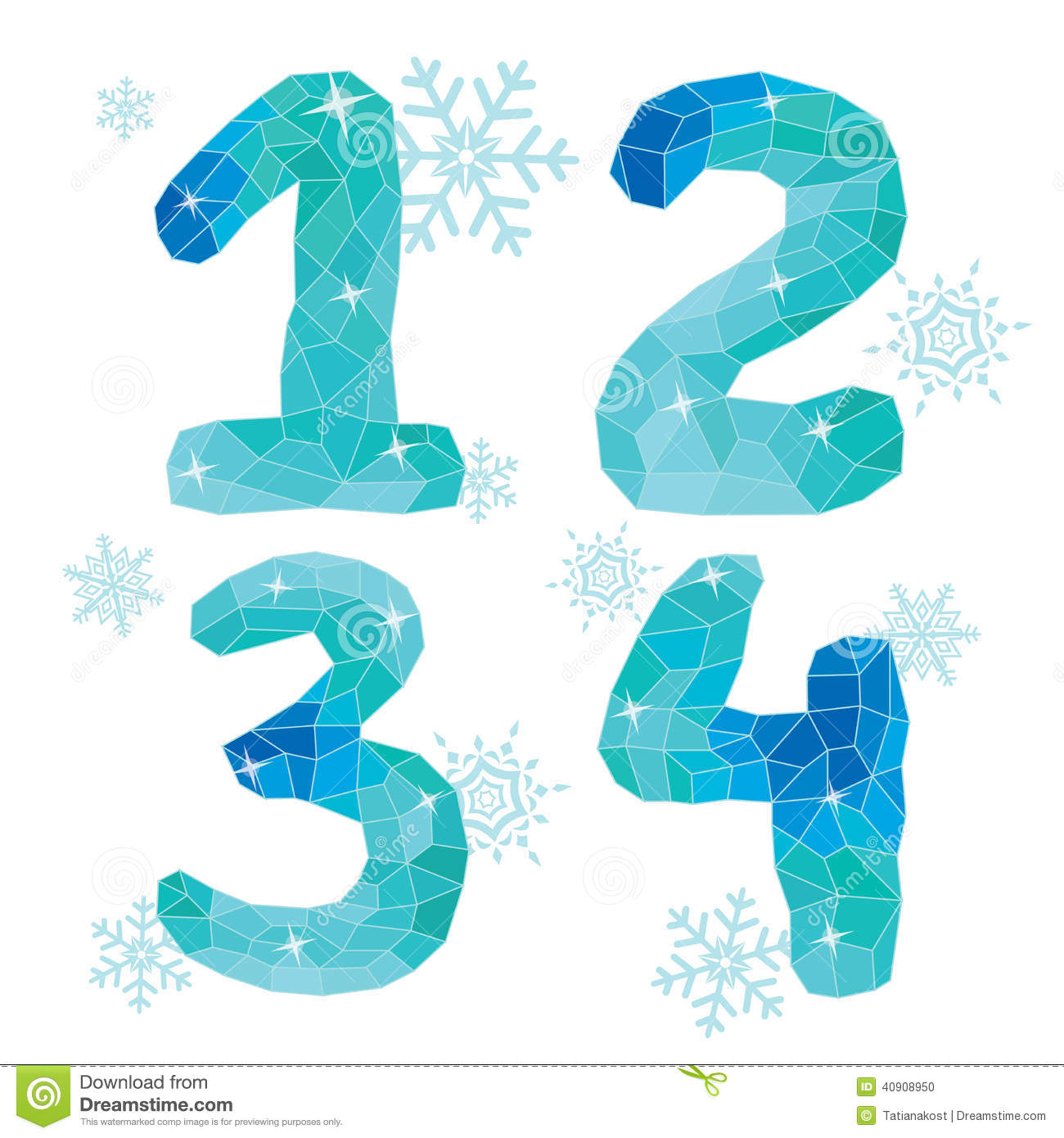 Multicolor polygons isolated numbers 1,2,3,4.Ice winter collect