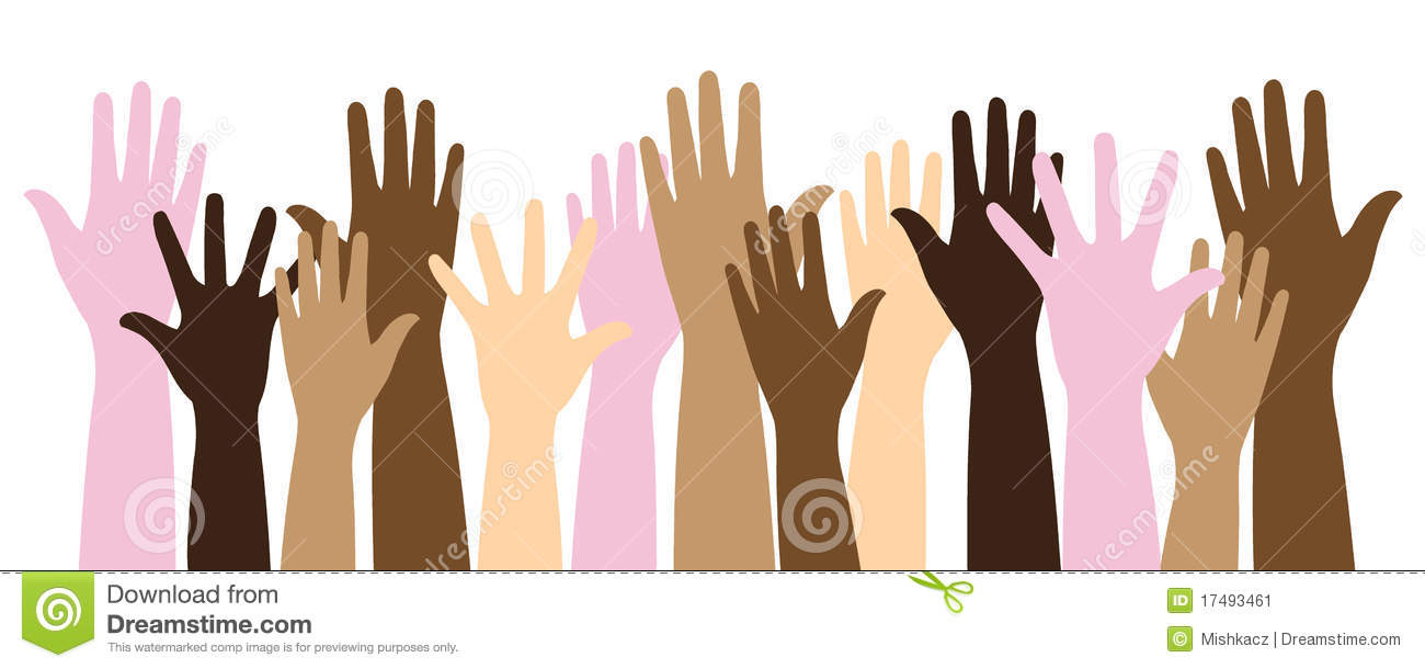 Multicolor Raised Hands Stock Image - Image: 17493461